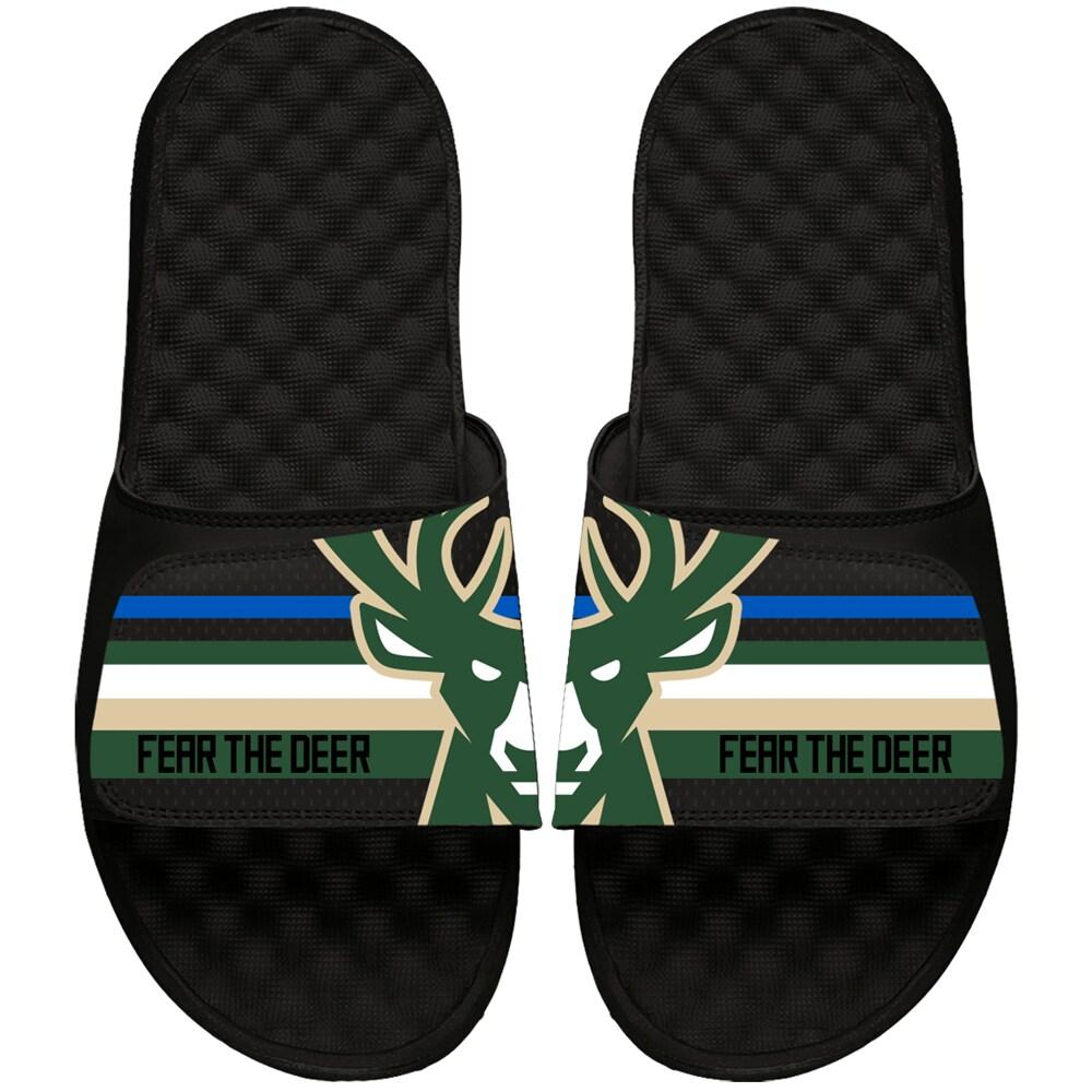 Milwaukee Bucks ISlide Statement Jersey Slide Sandals - Black