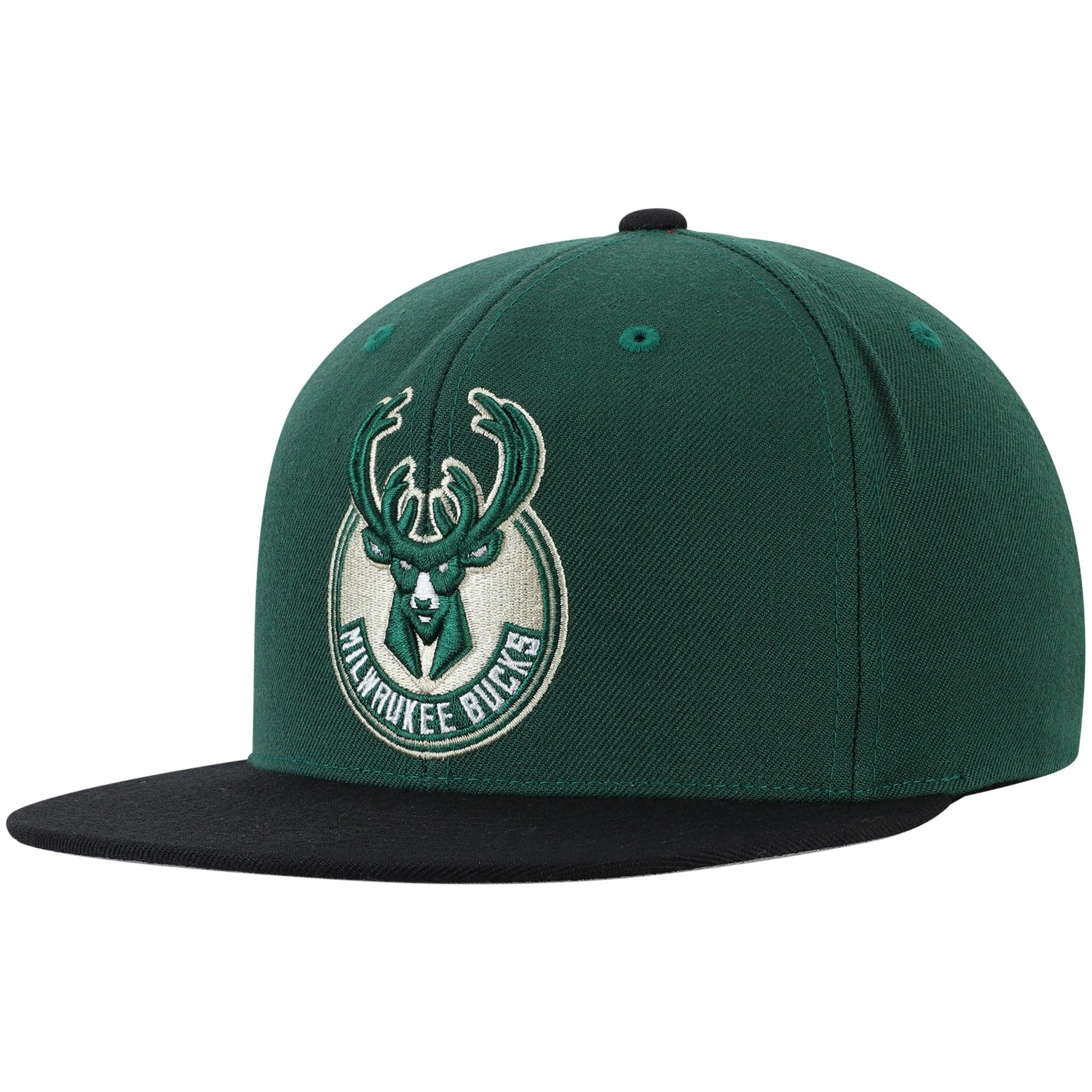 Milwaukee Bucks Mitchell & Ness Two-Tone Wool Snapback Hat - Hunter Green/Black