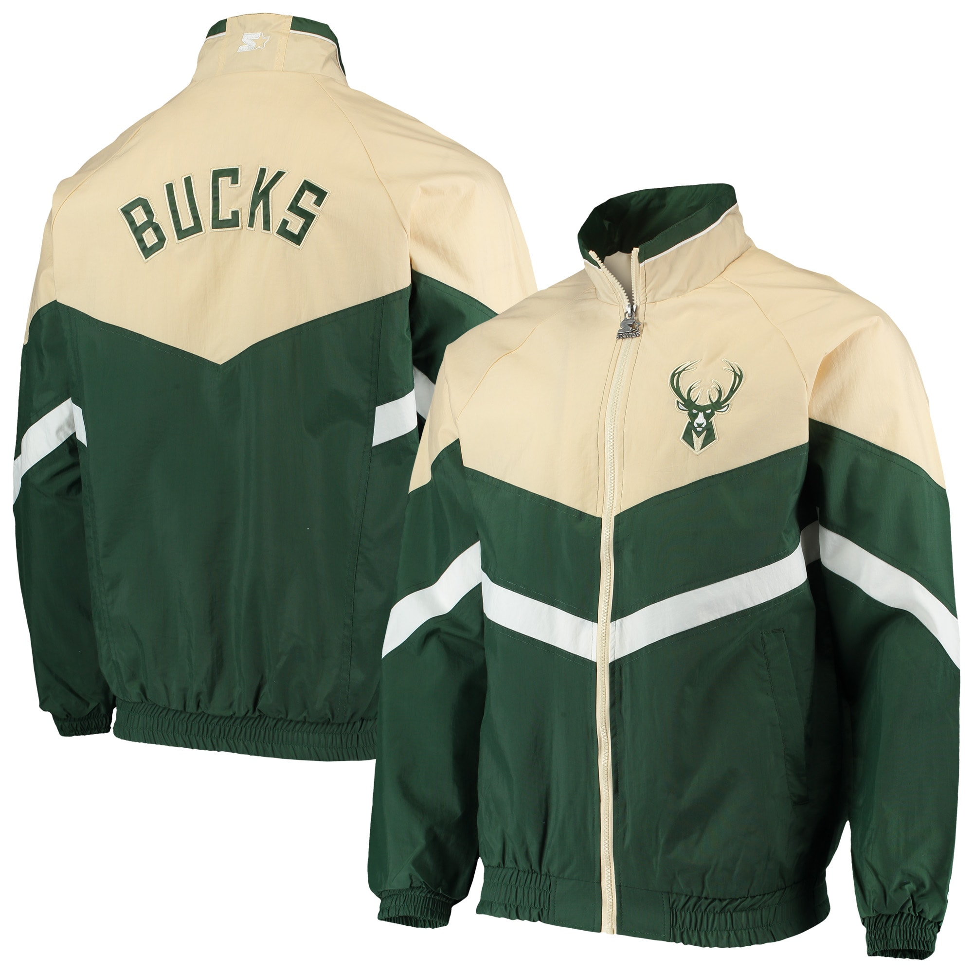 Milwaukee Bucks Starter Bank Shot Oxford Full-Zip Jacket - Hunter Green/Cream