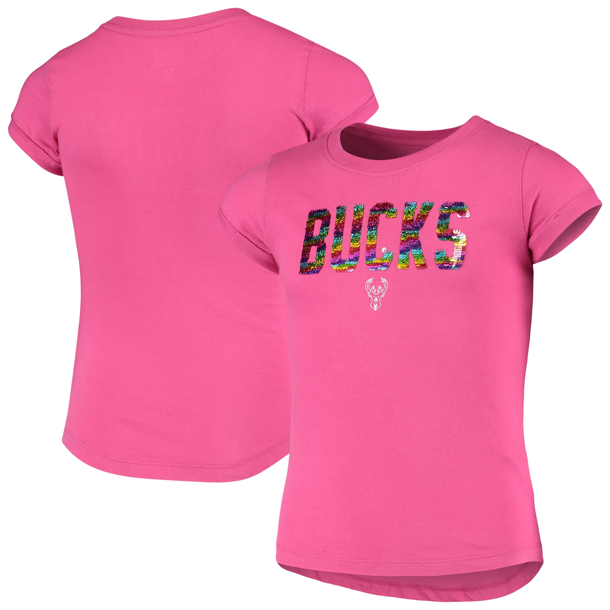 Milwaukee Bucks New Era Girls Youth Sequin Logo Baby Jersey T-Shirt - Pink