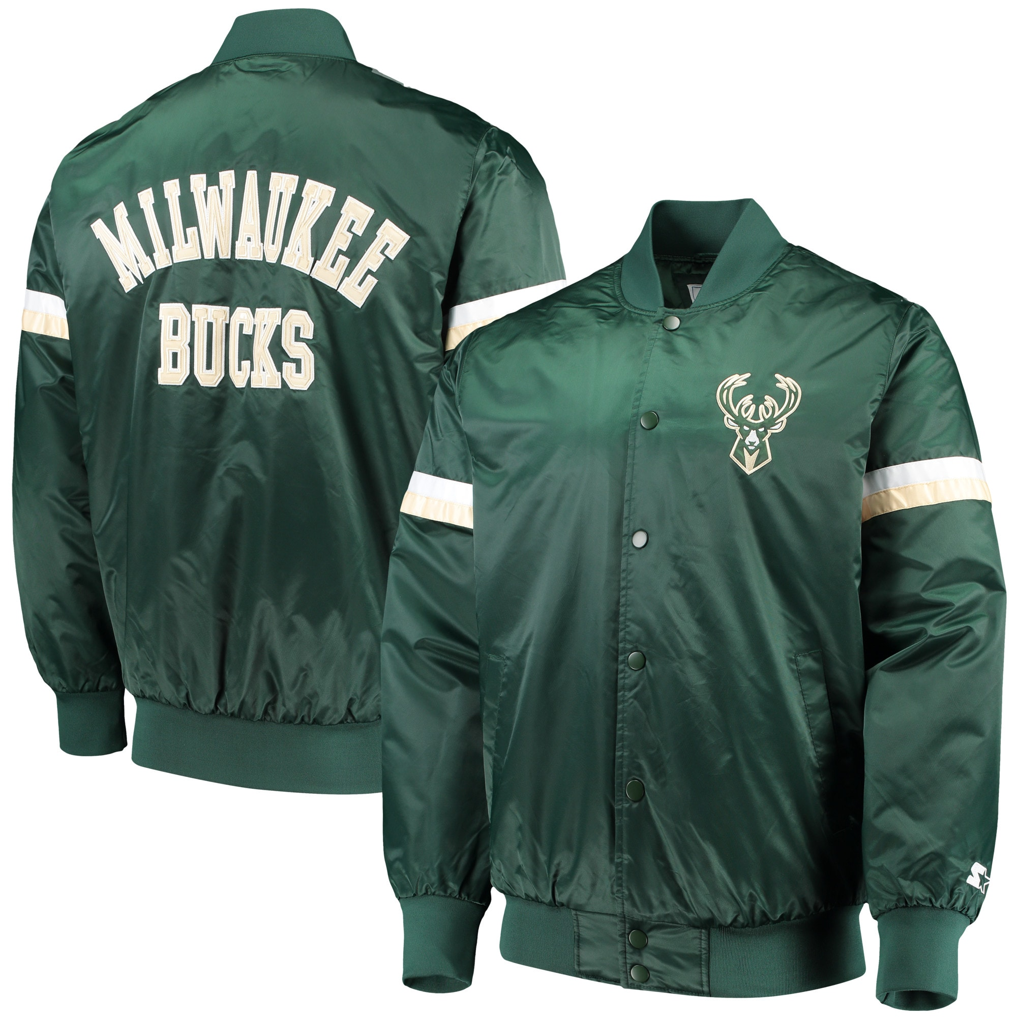 Milwaukee Bucks Starter The Champ Varsity Satin Jacket - Hunter Green