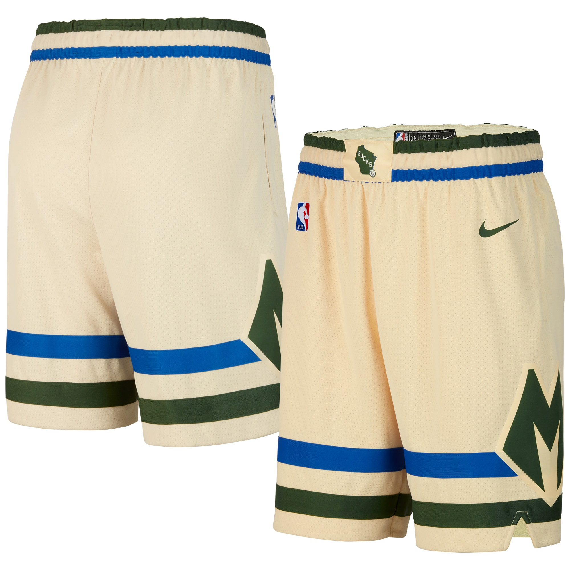 Milwaukee Bucks Nike 2019/20 City Edition Swingman Shorts - Cream