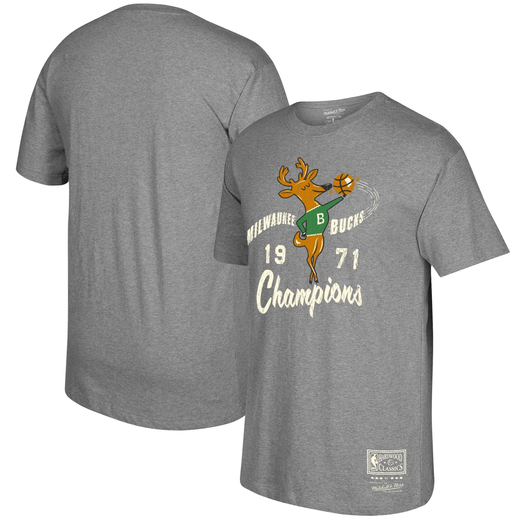 Milwaukee Bucks Mitchell & Ness Hardwood Classics Hometown T-Shirt - Gray