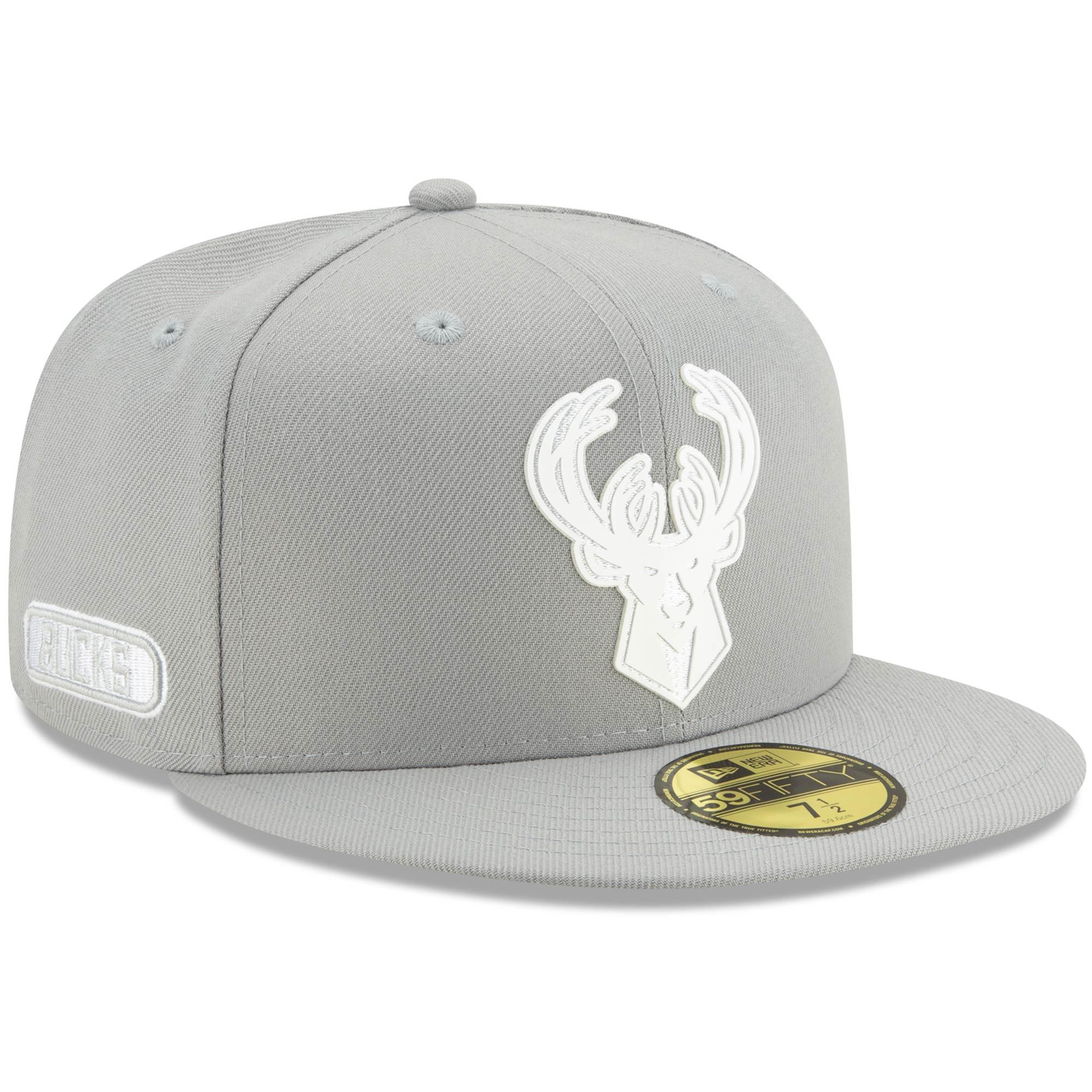 Milwaukee Bucks New Era Back Half 59FIFTY Fitted Hat - Gray