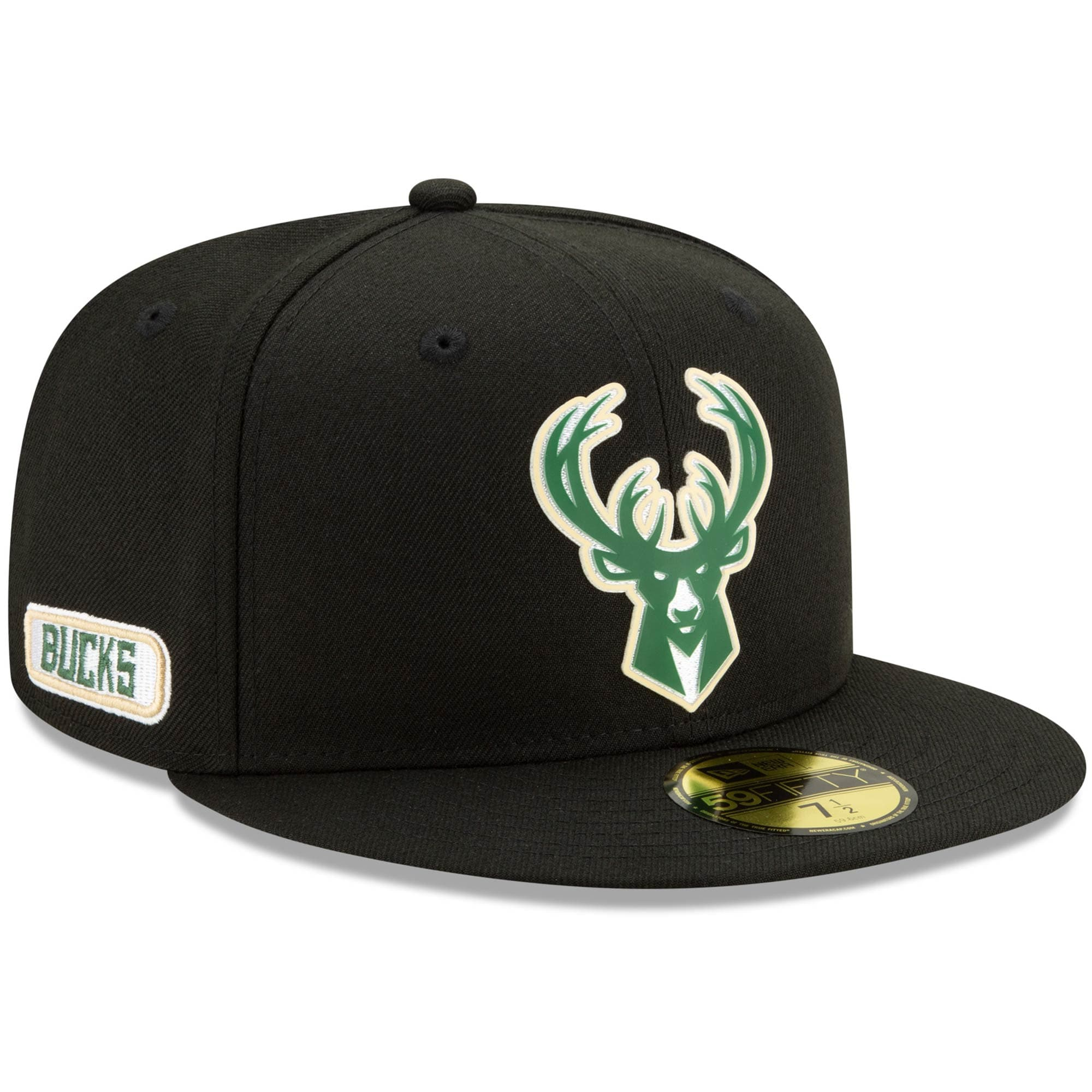 Milwaukee Bucks New Era Official Back Half 59FIFTY Fitted Hat - Black
