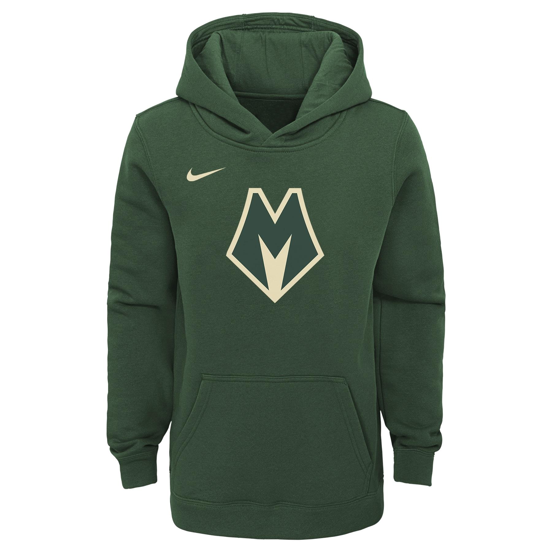 Milwaukee Bucks Nike Youth 2019/20 City Edition Club Pullover Hoodie - Green