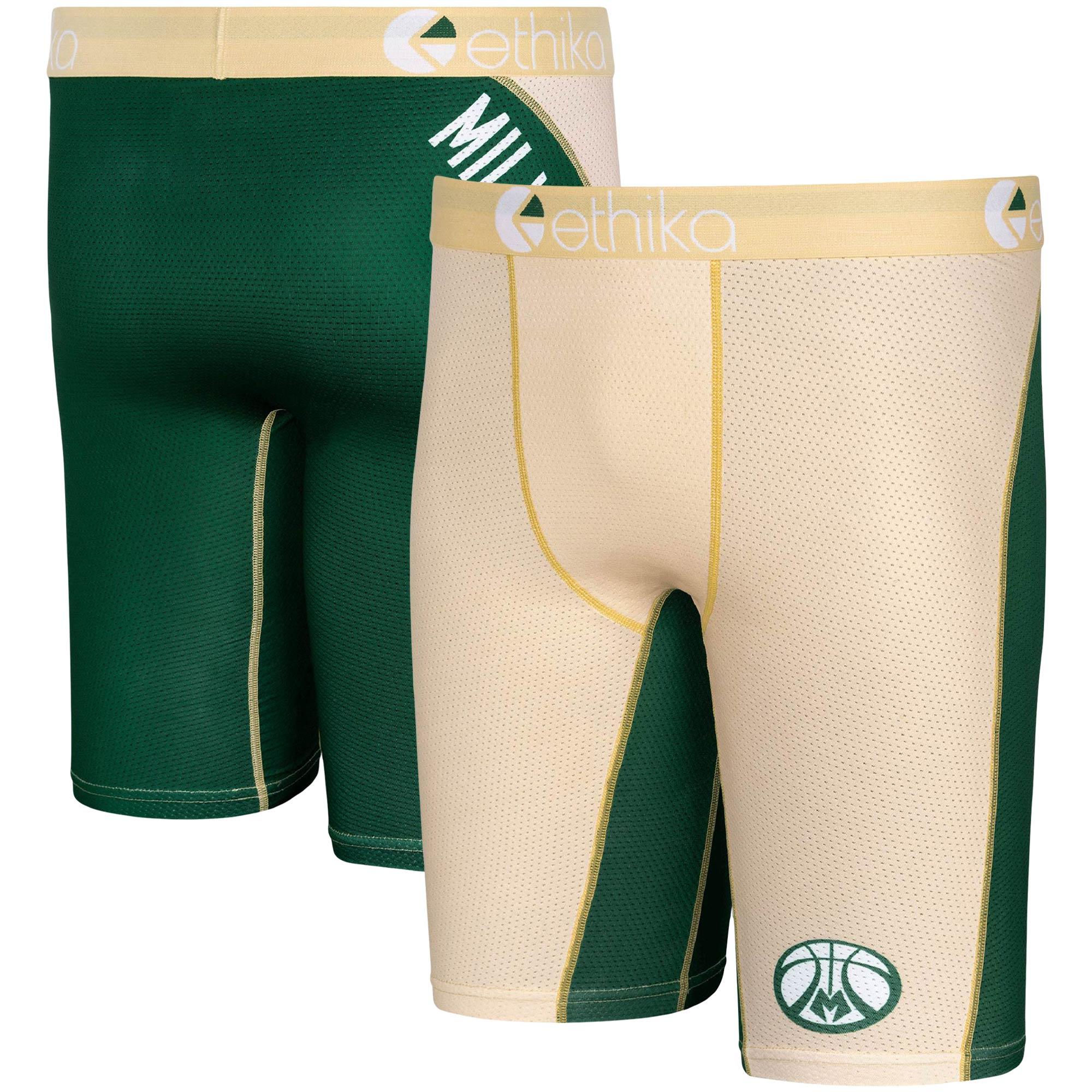 Milwaukee Bucks Ethika for Fanatics Micromesh Boxer Briefs - Cream