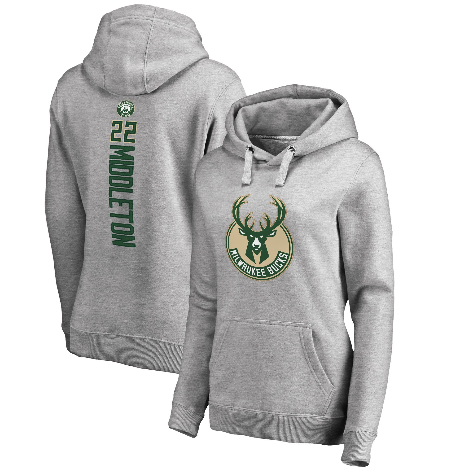 Khris Middleton Milwaukee Bucks Fanatics Branded Women's Backer Name and Number Pullover Hoodie - Heathered Gray