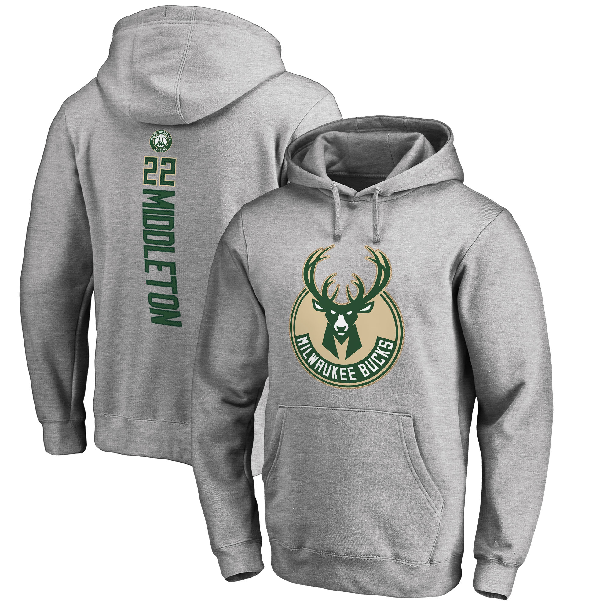 Khris Middleton Milwaukee Bucks Fanatics Branded Backer Name and Number Pullover Hoodie - Heathered Gray