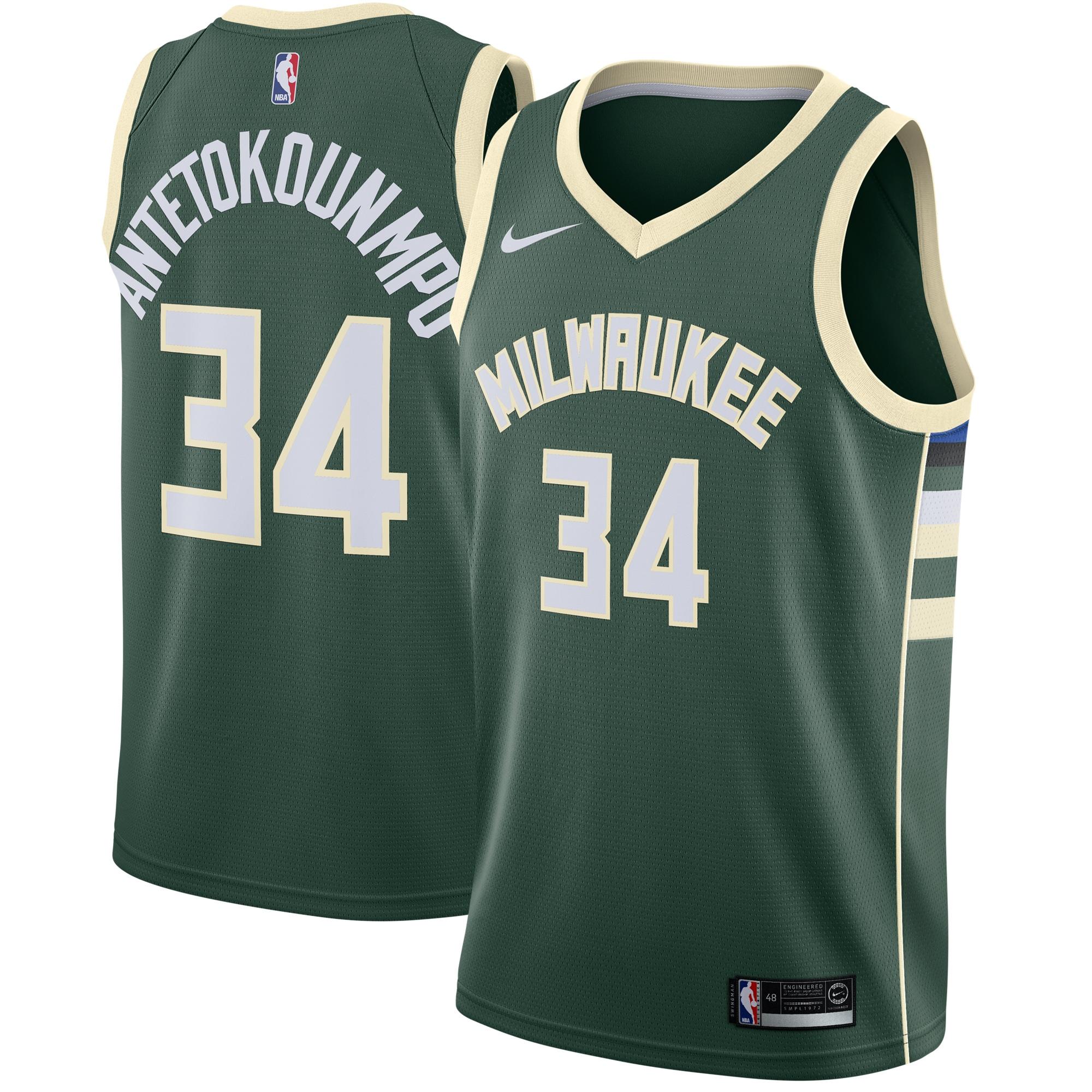 Giannis Antetokounmpo Milwaukee Bucks Nike Swingman Jersey Green - Icon Edition