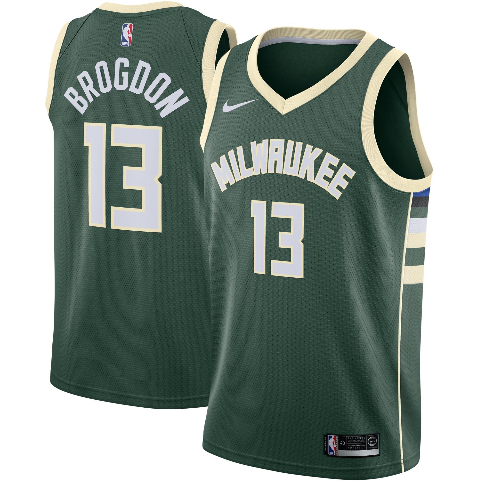 Malcolm Brogdon Milwaukee Bucks Nike Swingman Jersey Green - Icon Edition