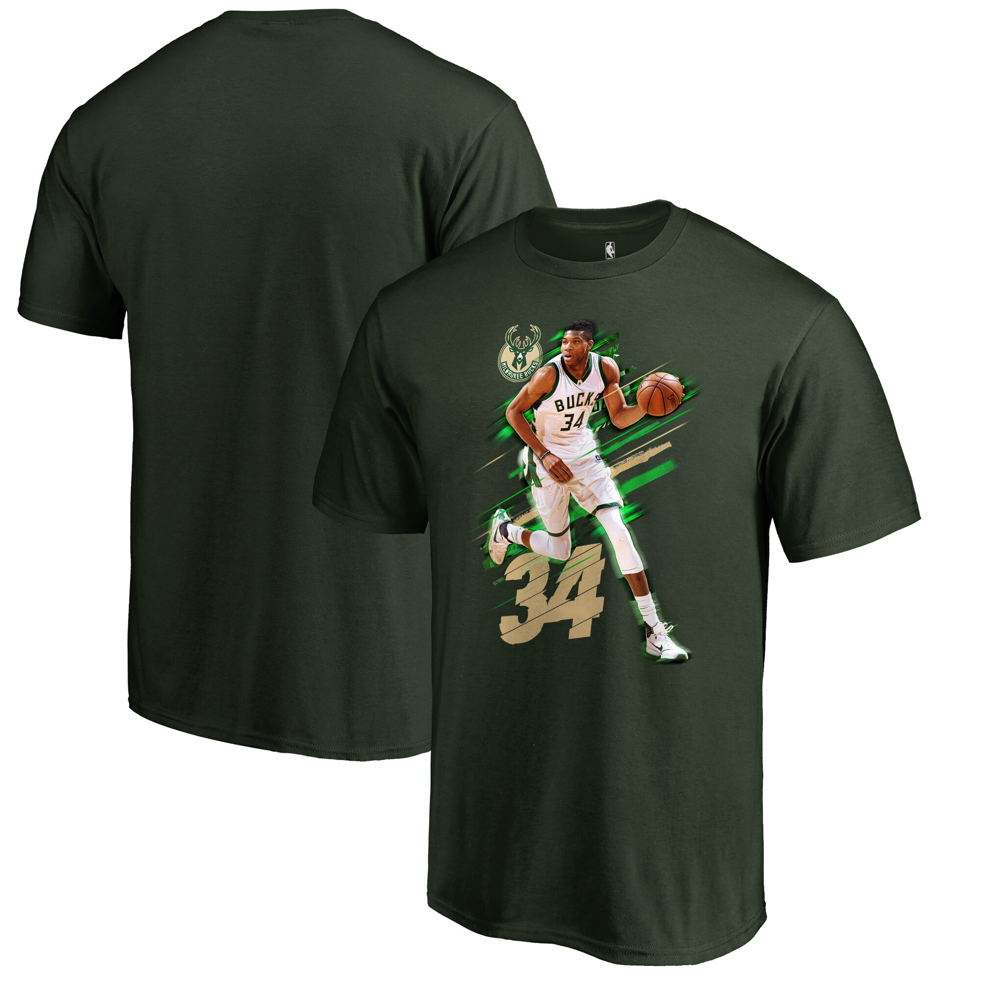 Giannis Antetokounmpo Milwaukee Bucks Fanatics Branded Fade Away T-Shirt - Green