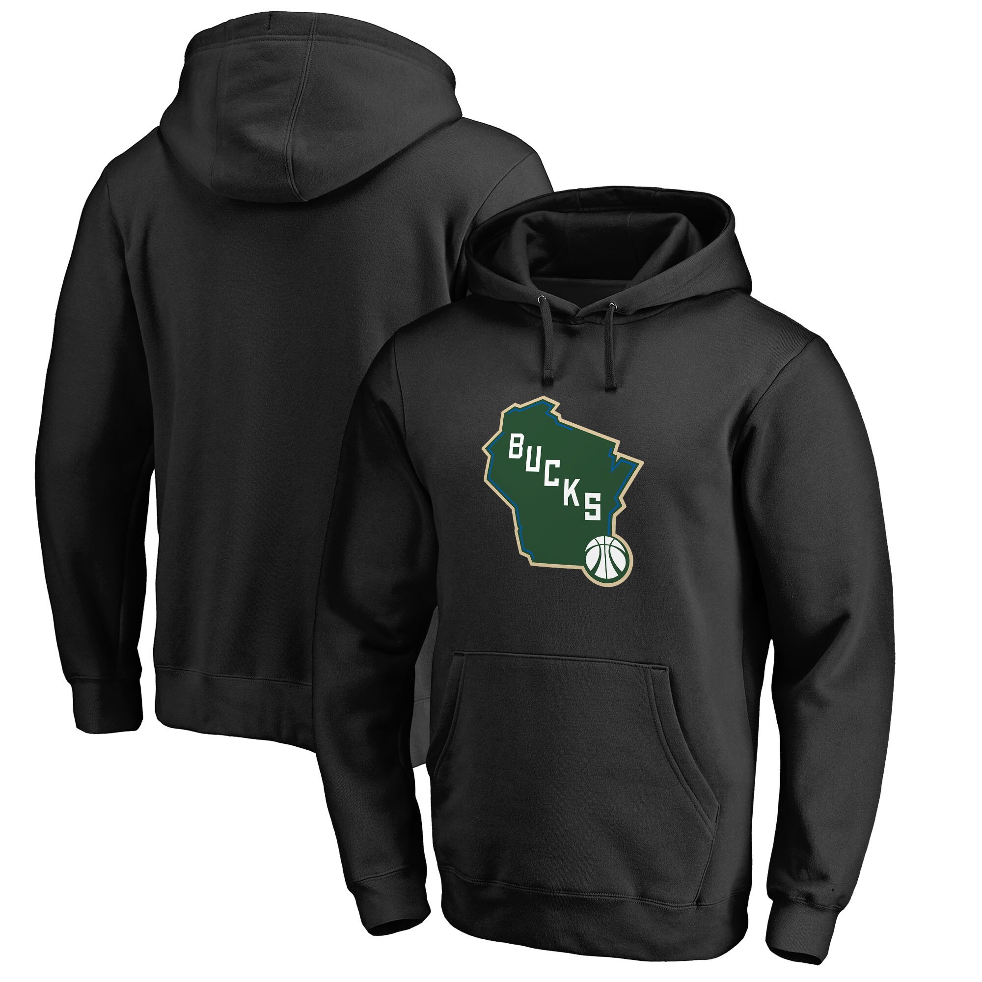 Milwaukee Bucks Fanatics Branded Alternate Logo Pullover Hoodie - Black