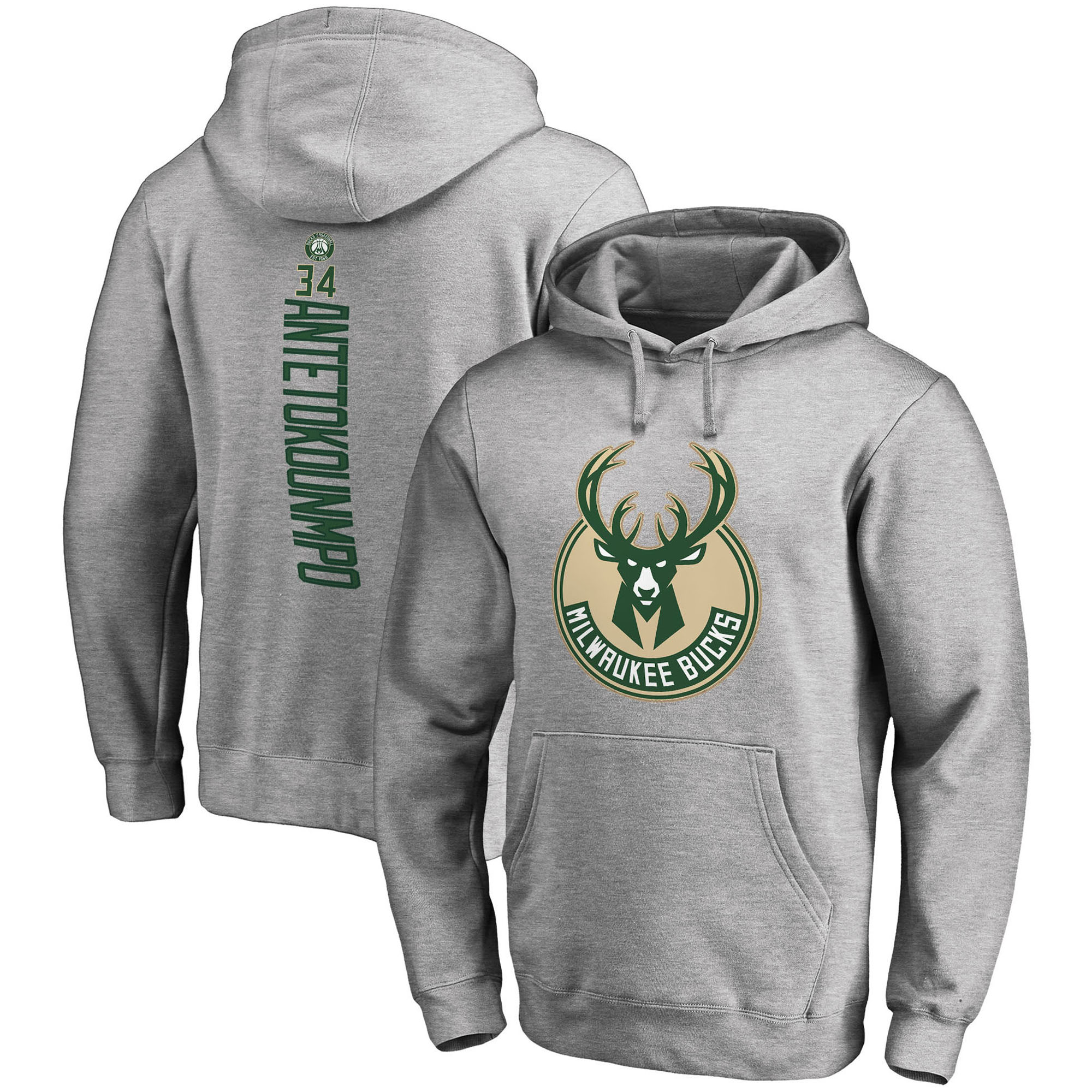 Giannis Antetokounmpo Milwaukee Bucks Fanatics Branded Backer Name & Number Pullover Hoodie - Gray
