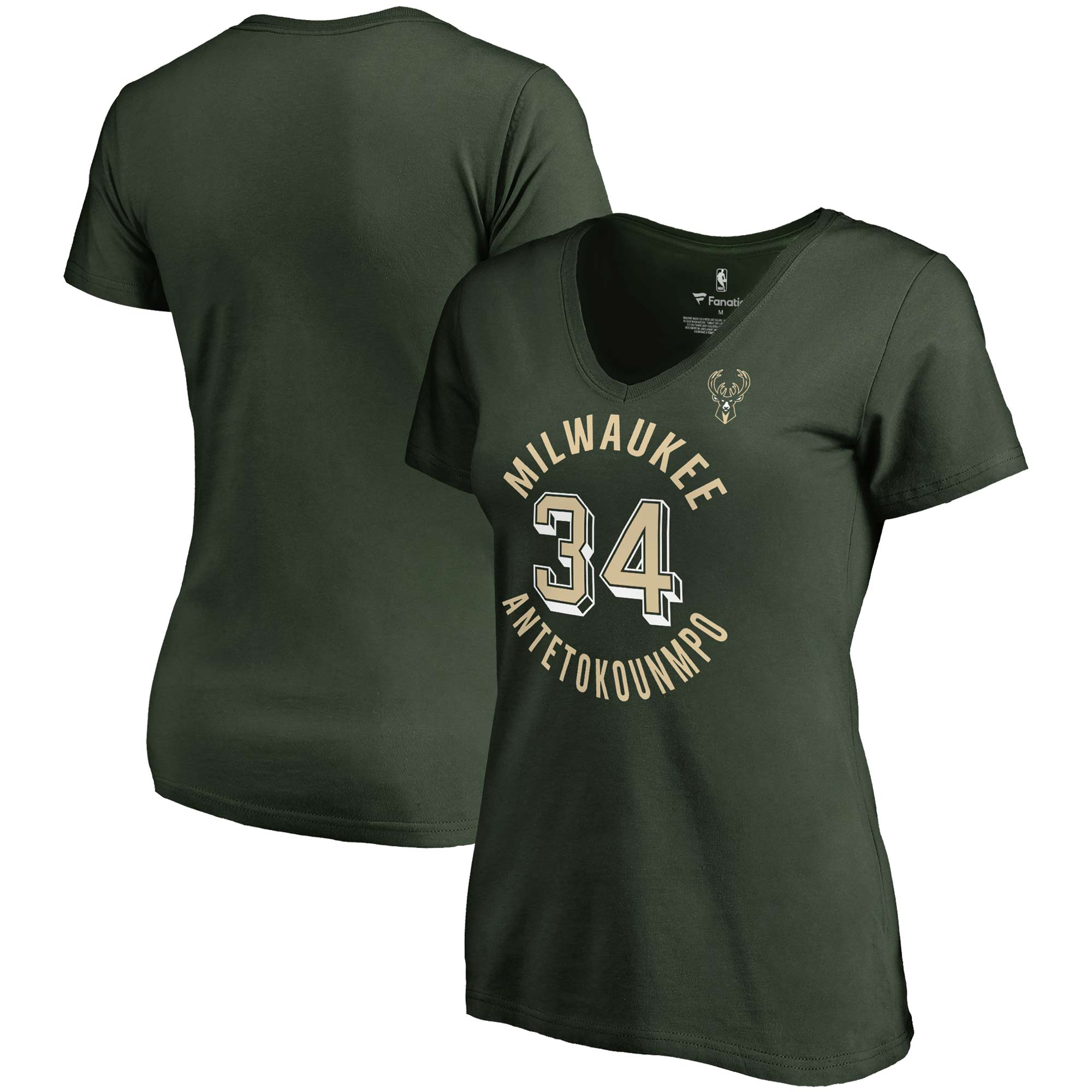 Giannis Antetokounmpo Milwaukee Bucks Fanatics Branded Women's Notable Name & Number V-Neck T-Shirt - Hunter Green