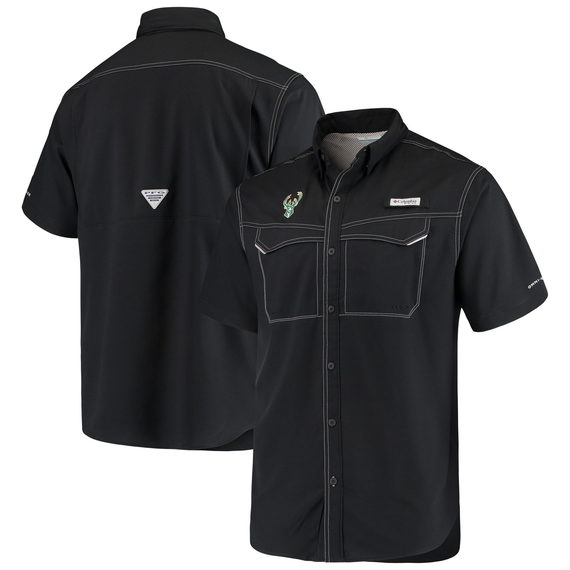Milwaukee Bucks Columbia Low Drag Offshore Omni-Shade Button-Up Shirt - Black