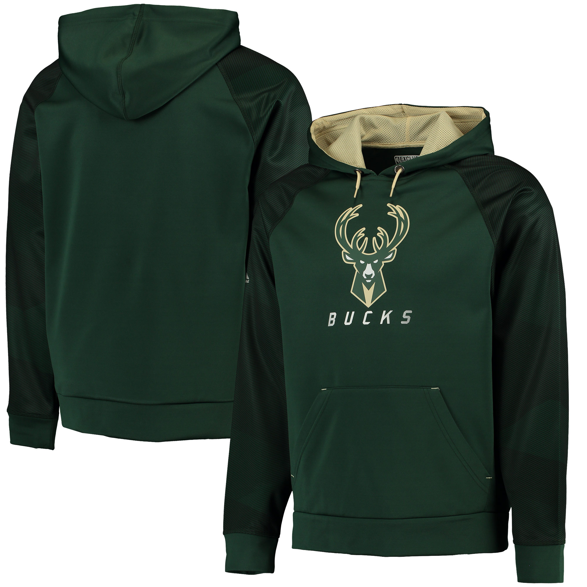 Milwaukee Bucks Majestic Armor II Therma Base Raglan Pullover Hoodie - Green