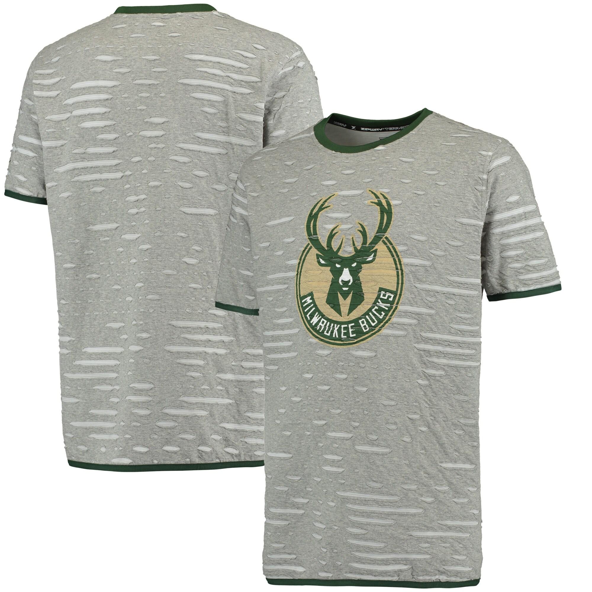 Milwaukee Bucks Zipway Ripped and Repaired T-Shirt - Gray