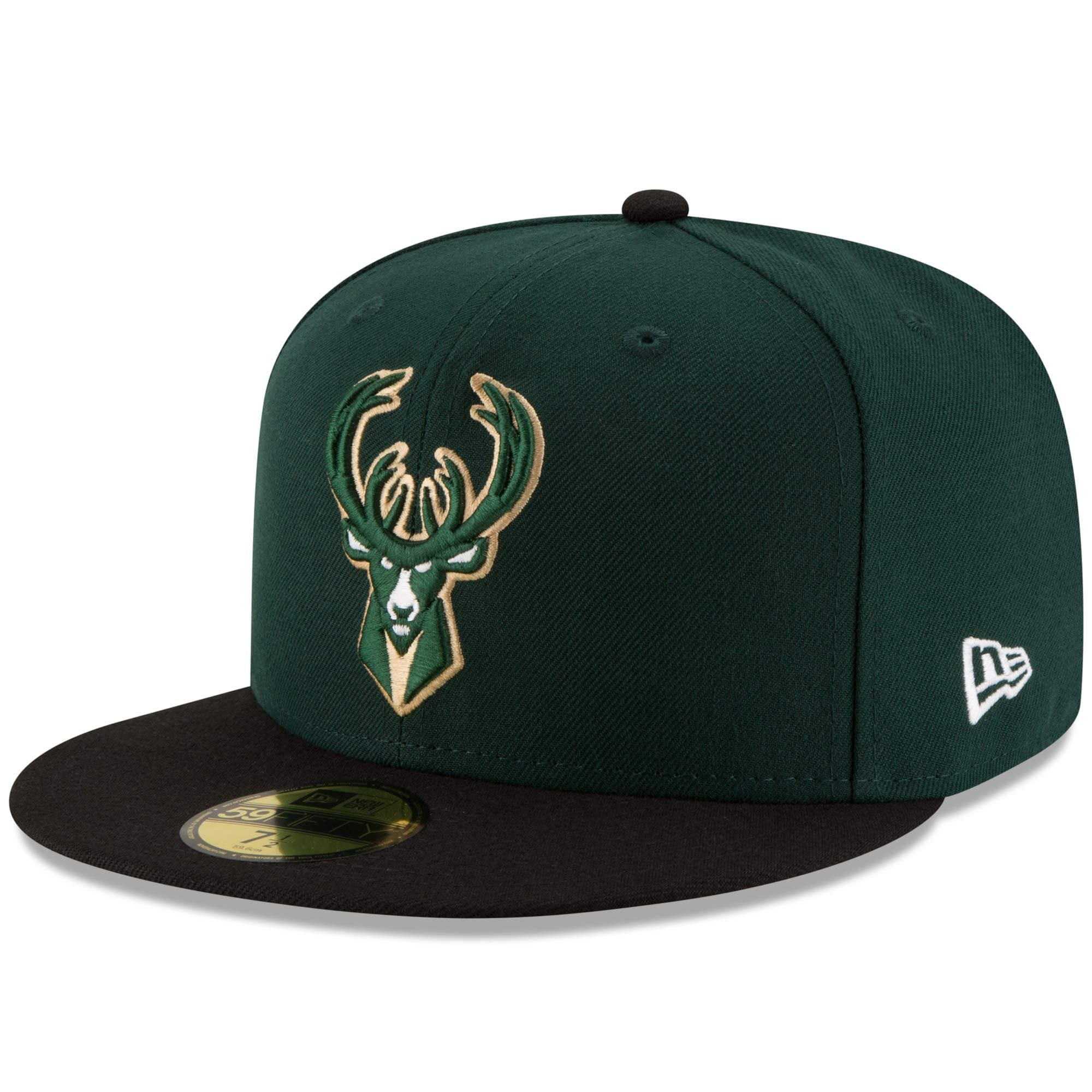 Milwaukee Bucks New Era Official Team Color 2Tone 59FIFTY Fitted Hat - Green/Black