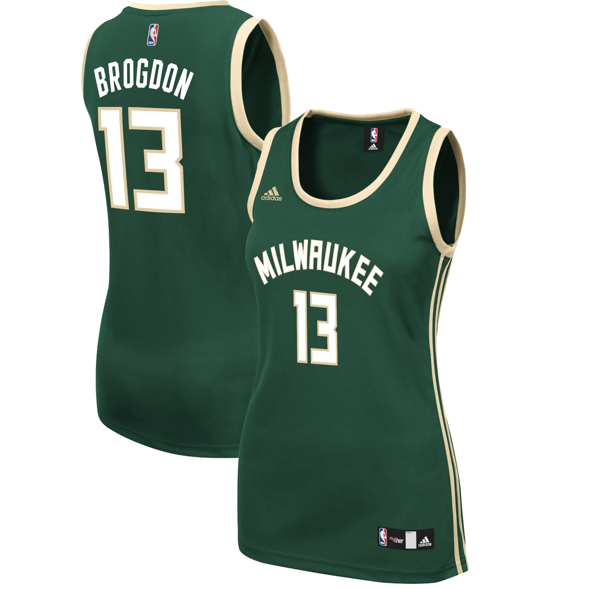 Malcolm Brogdon Milwaukee Bucks adidas Women's Road Replica Jersey - Hunter Green