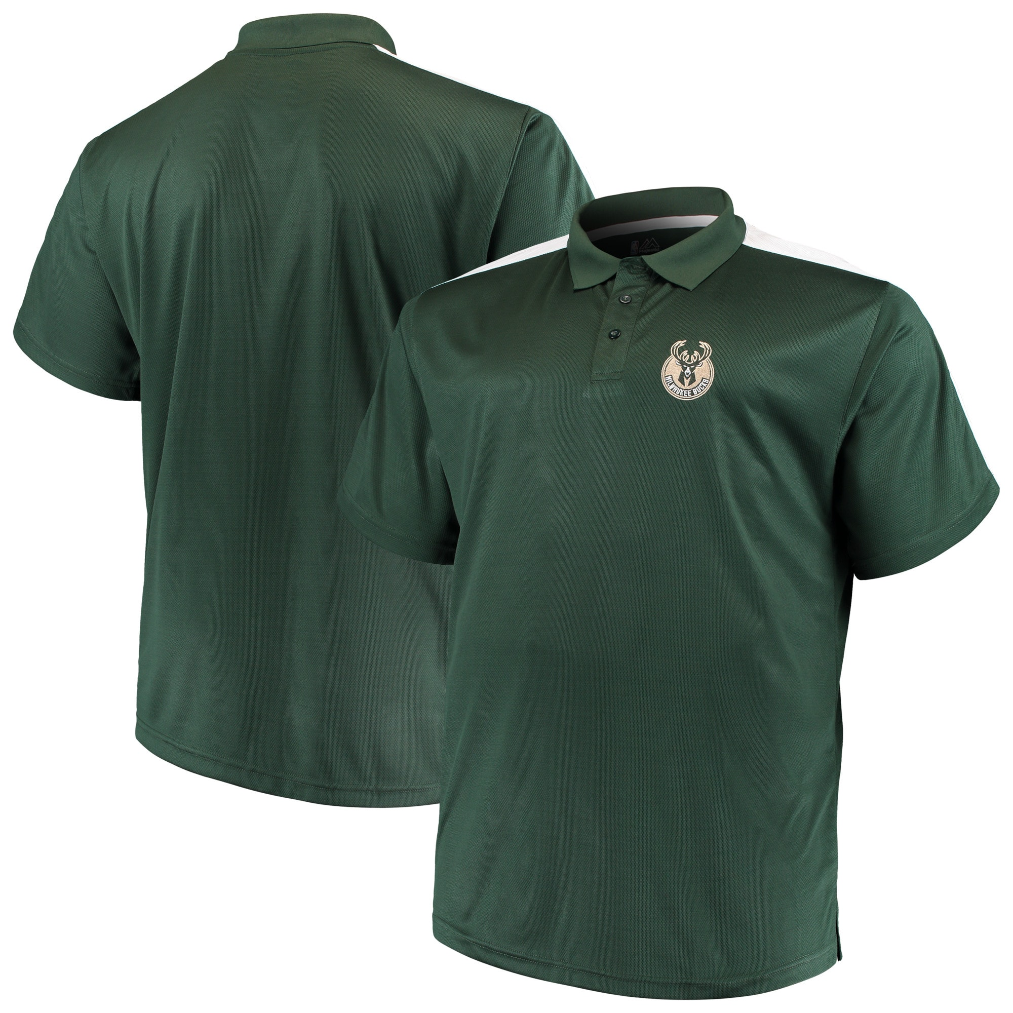 Milwaukee Bucks Majestic Big & Tall Birdseye Polo - Hunter Green/White