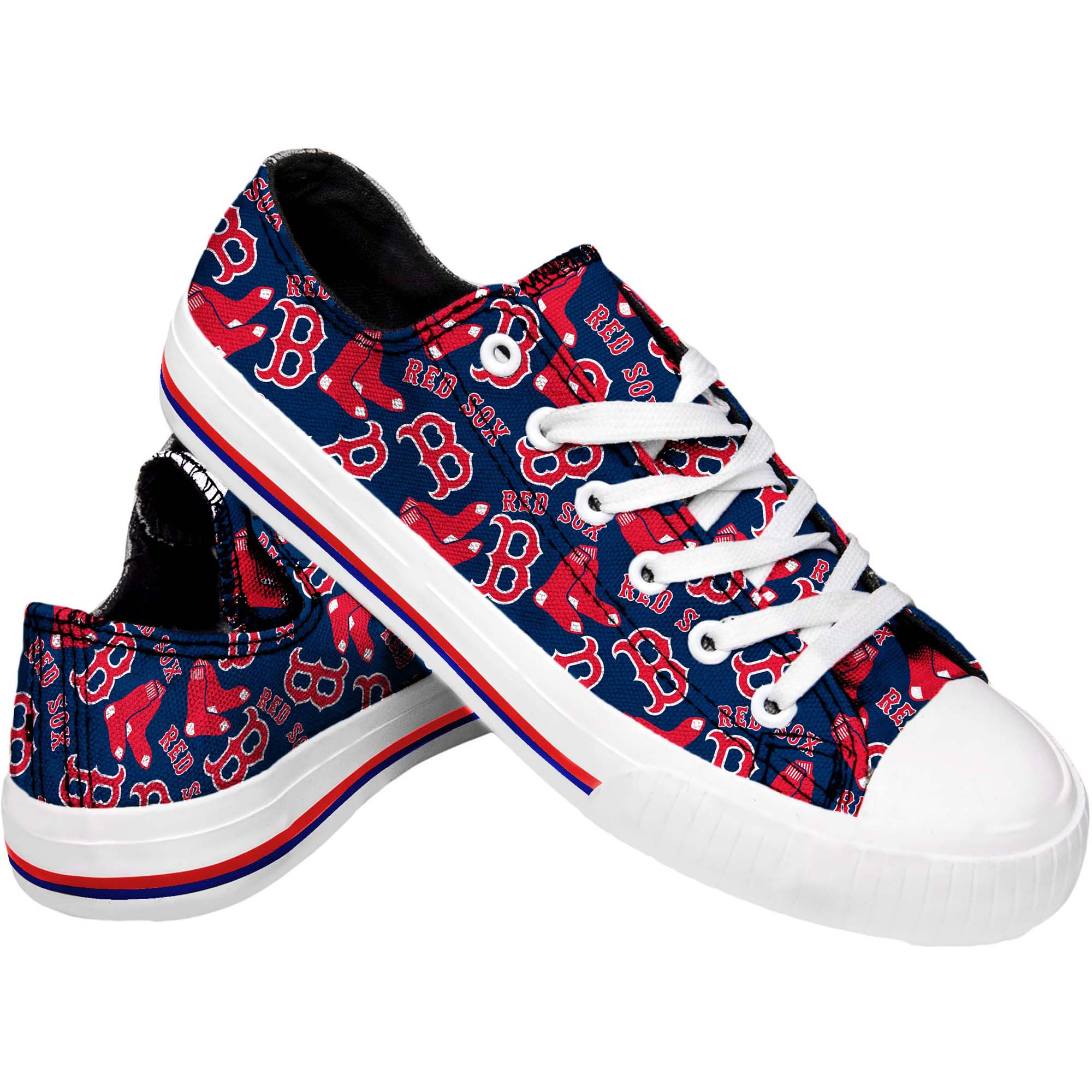 Boston Red Sox Women's Low Top Repeat Print Canvas Shoes