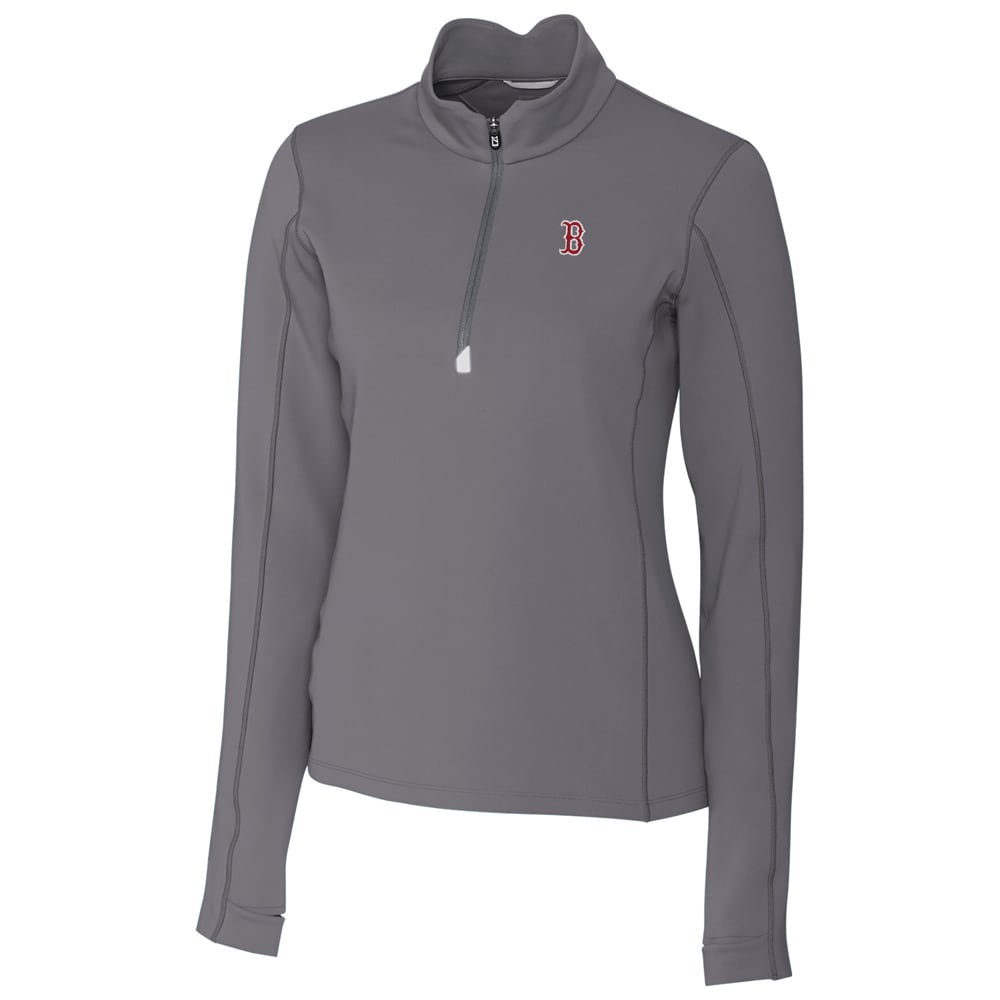 Boston Red Sox Cutter & Buck Women's Traverse Half-Zip Pullover Jacket - Gray