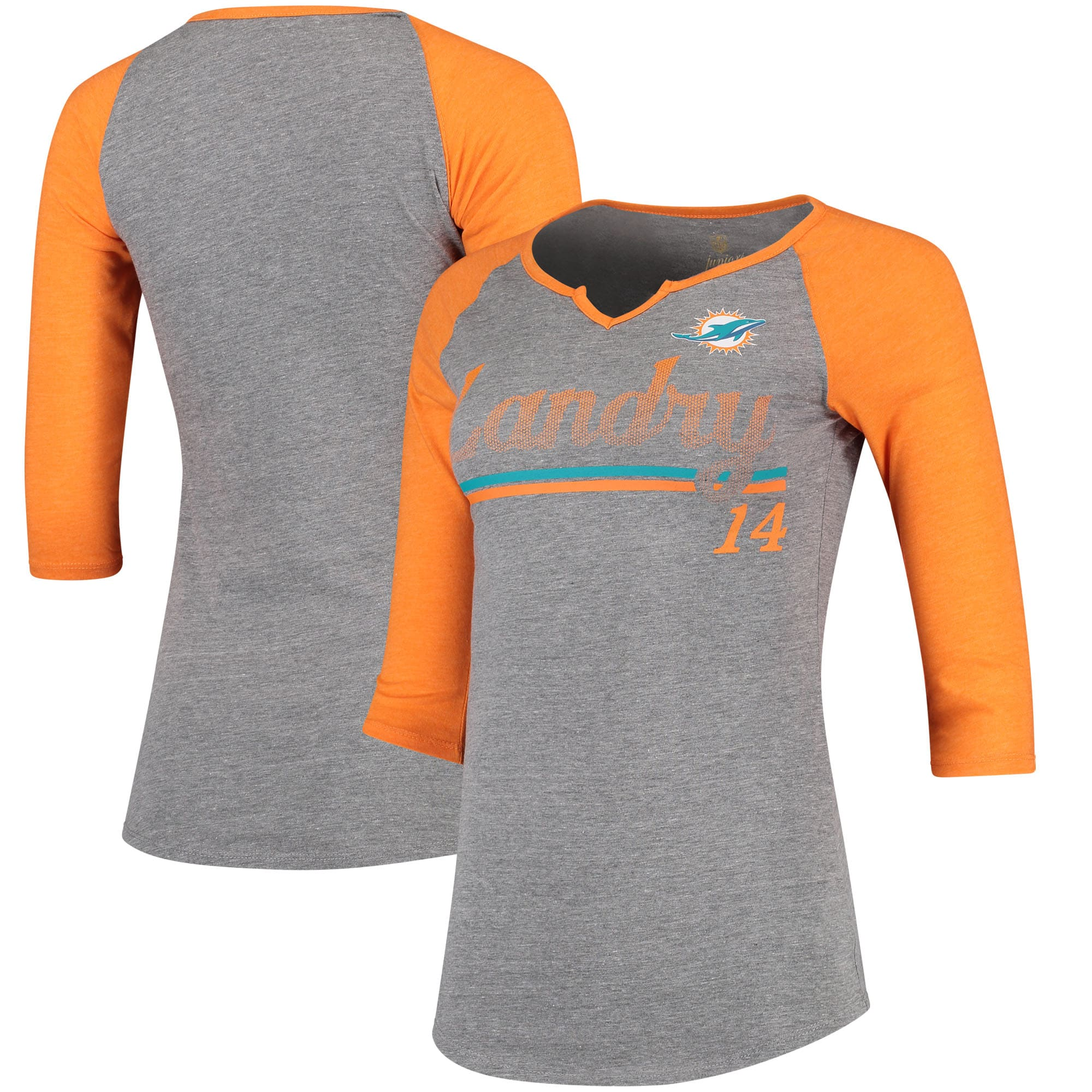 Jarvis Landry Miami Dolphins Women's Juniors Over the Line Player Name & Number Tri-Blend 3/4-Sleeve V-Notch T-Shirt - Heathered Gray/Orange