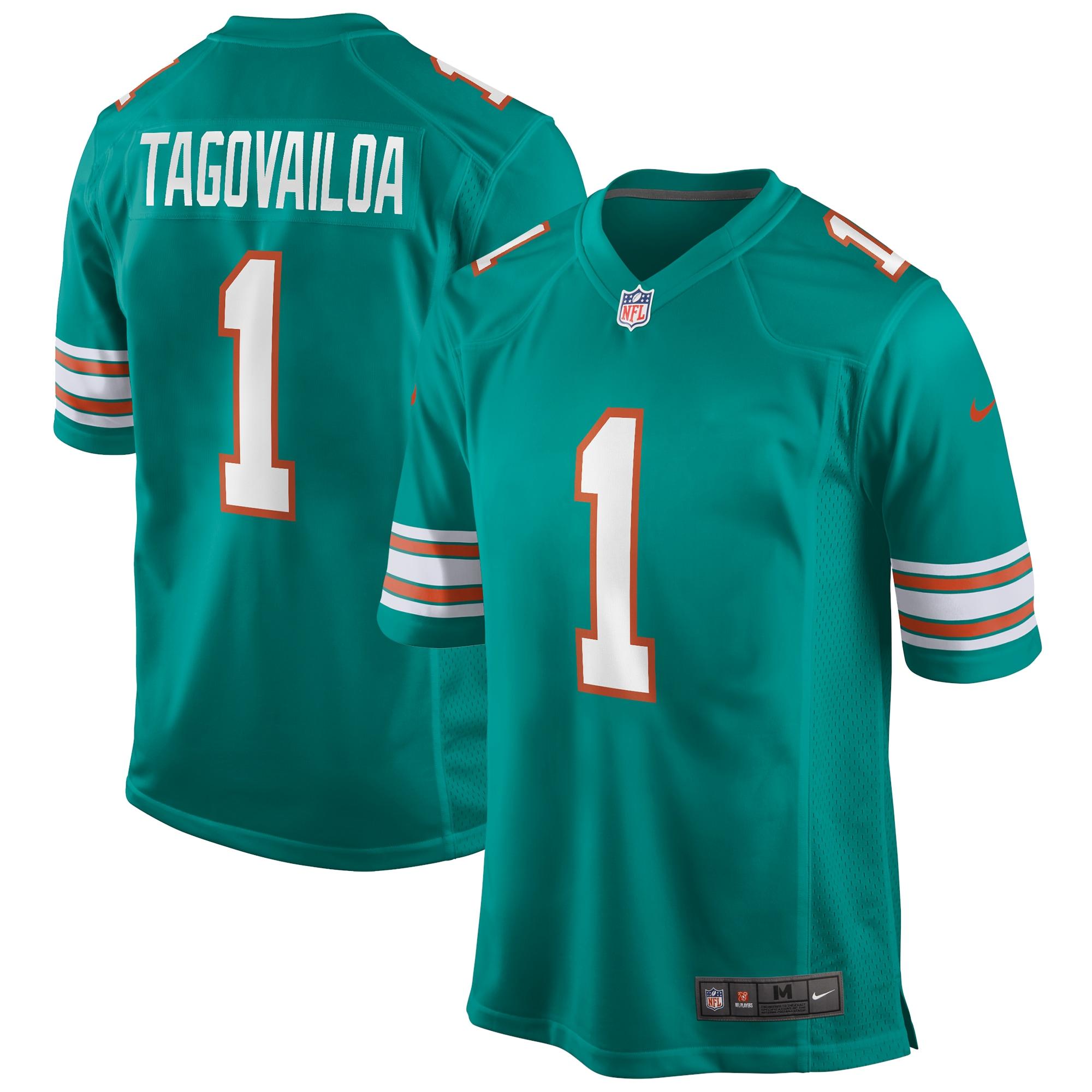 Tua Tagovailoa Miami Dolphins Nike Alternate Game Jersey - Aqua
