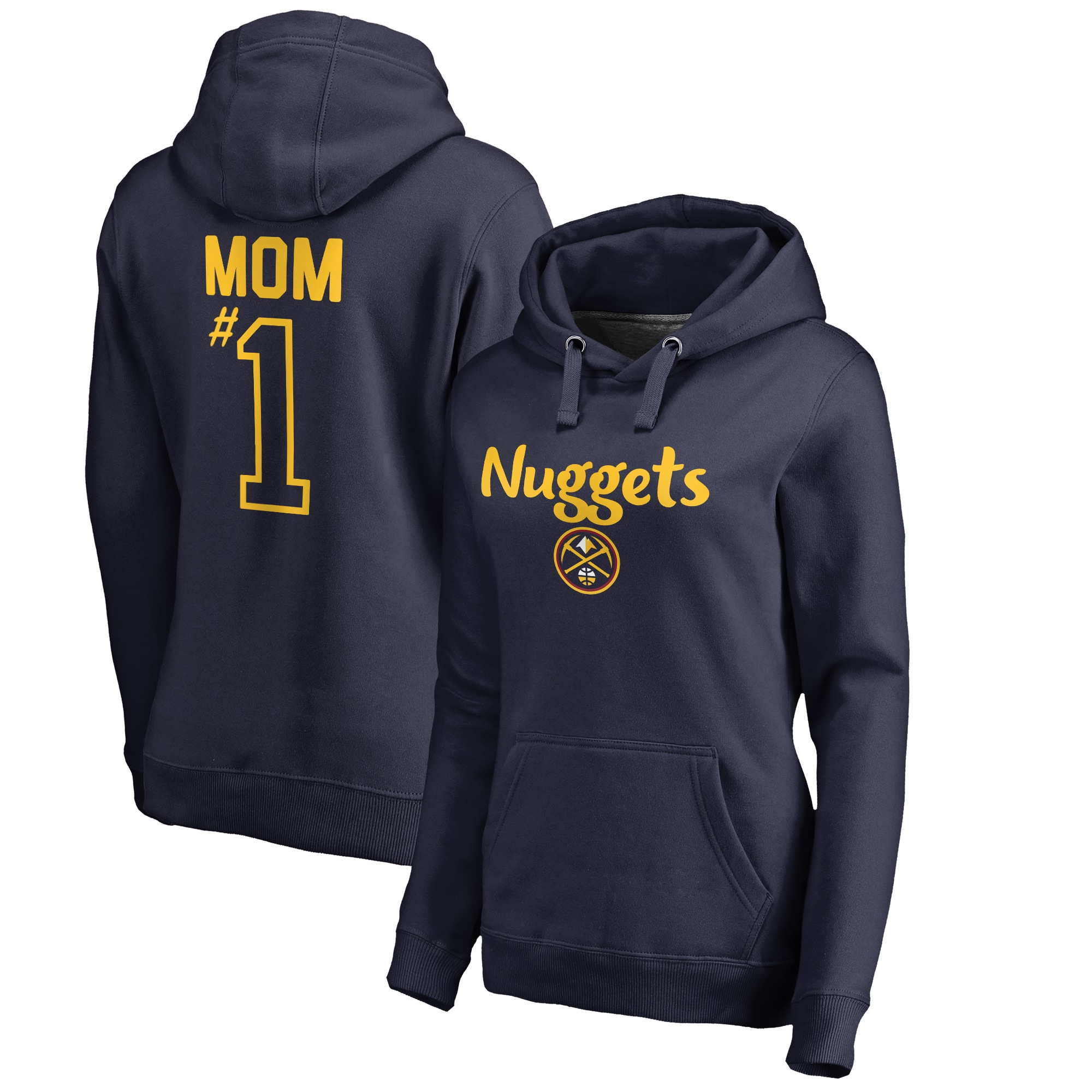 Denver Nuggets Fanatics Branded #1 Mom Logo Pullover Hoodie - Navy