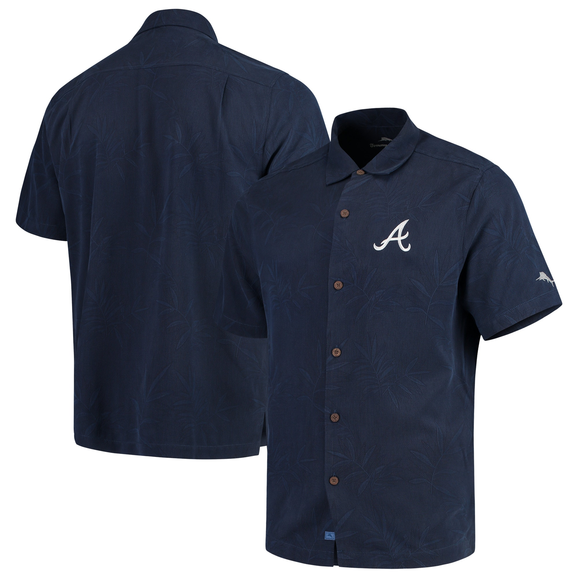 Atlanta Braves Tommy Bahama Luau Floral Core Camp Button-Up Shirt - Navy