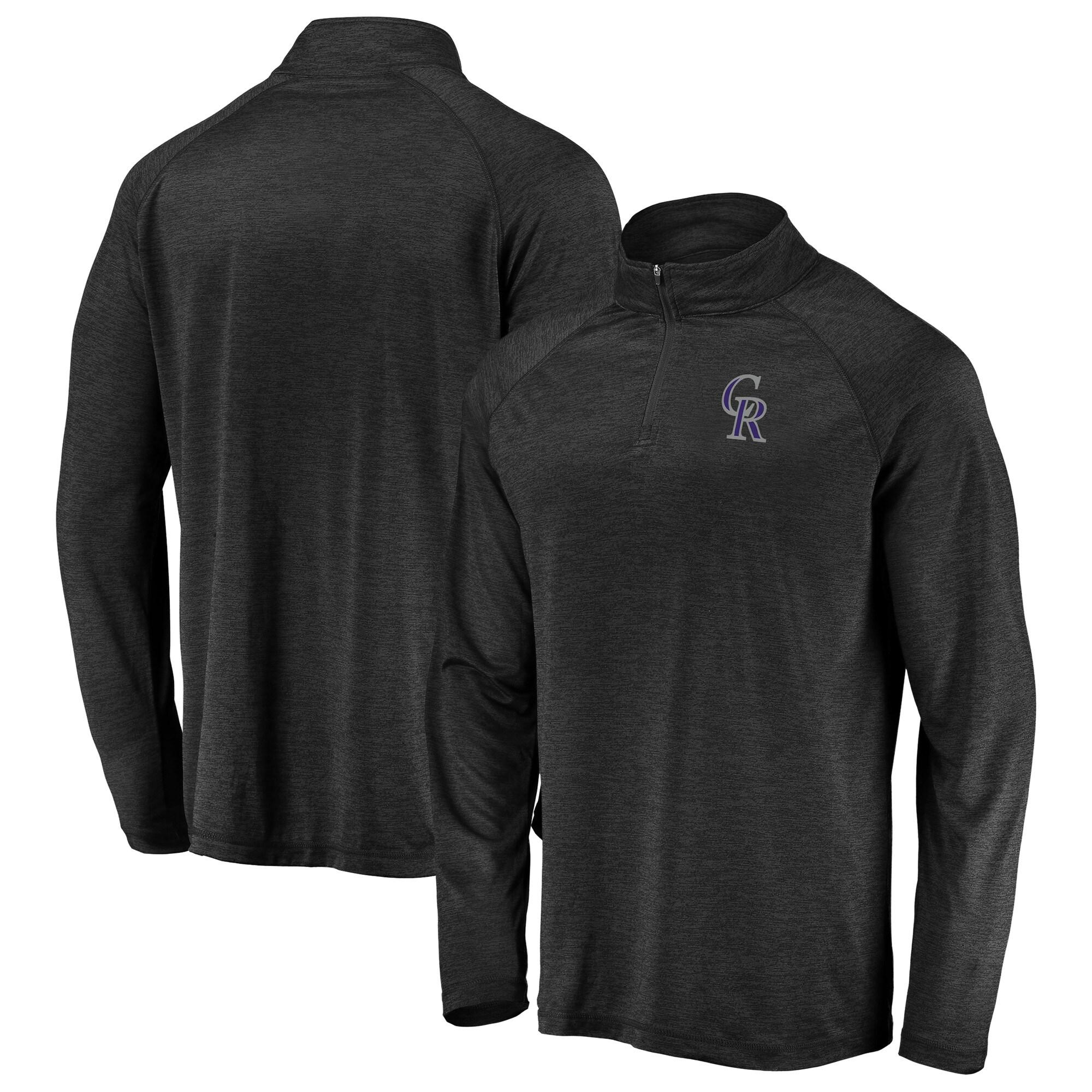 Colorado Rockies Majestic Striated Primary Logo Cool Base Raglan Quarter-Zip Pullover Jacket - Heathered Black