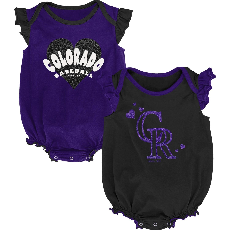 Colorado Rockies Girls Newborn & Infant Double Trouble Two-Pack Bodysuit Set - Black/Purple