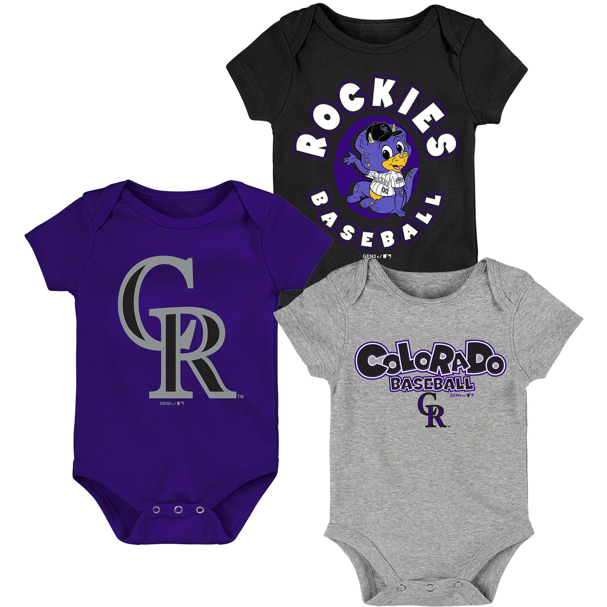 Colorado Rockies Infant Everyday Fan Three-Pack Bodysuit Set - Black/Purple/Gray