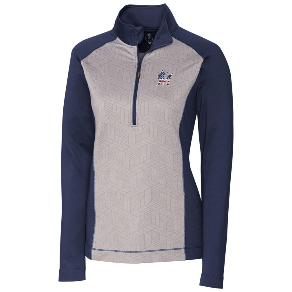 Miami Marlins Cutter & Buck Women's All-Star Half-Zip Pullover Jacket - Navy