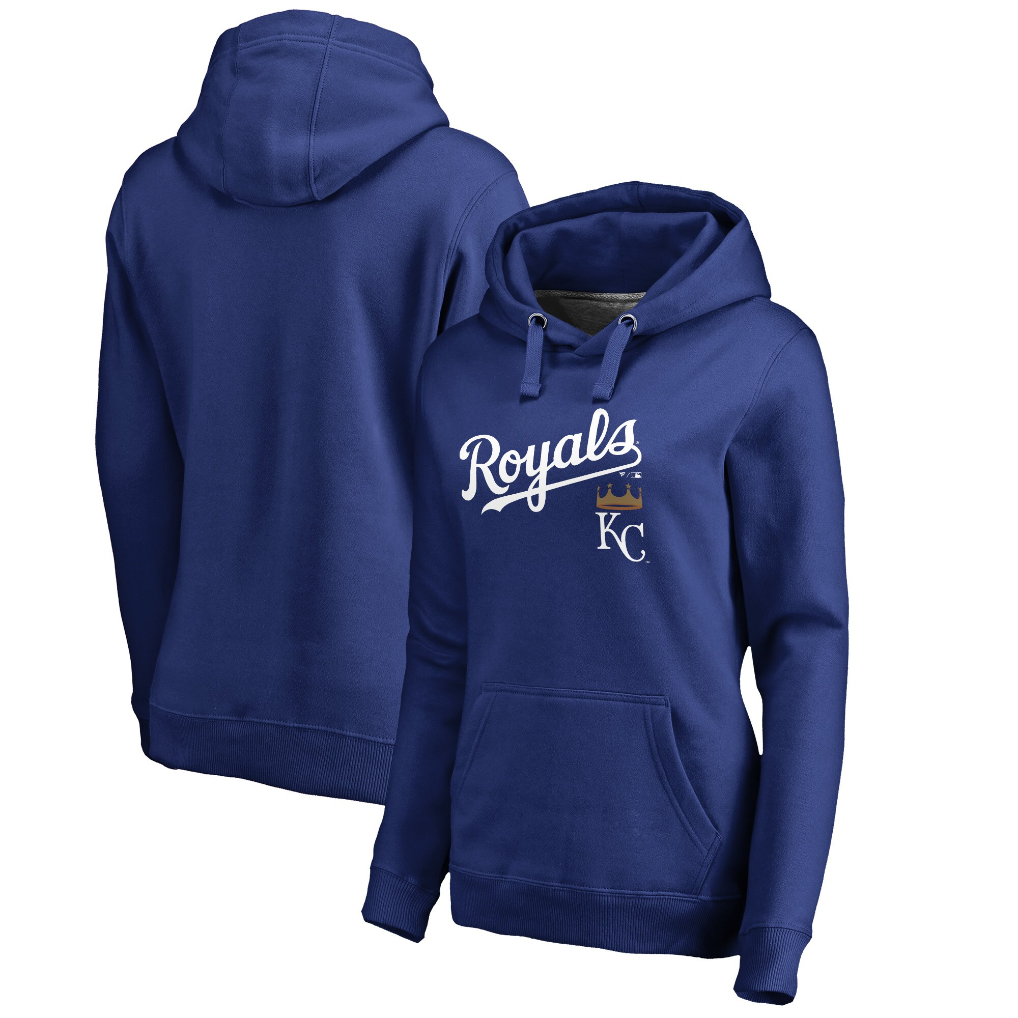 Kansas City Royals Fanatics Branded Women's Plus Size Team Lockup Pullover Hoodie - Royal