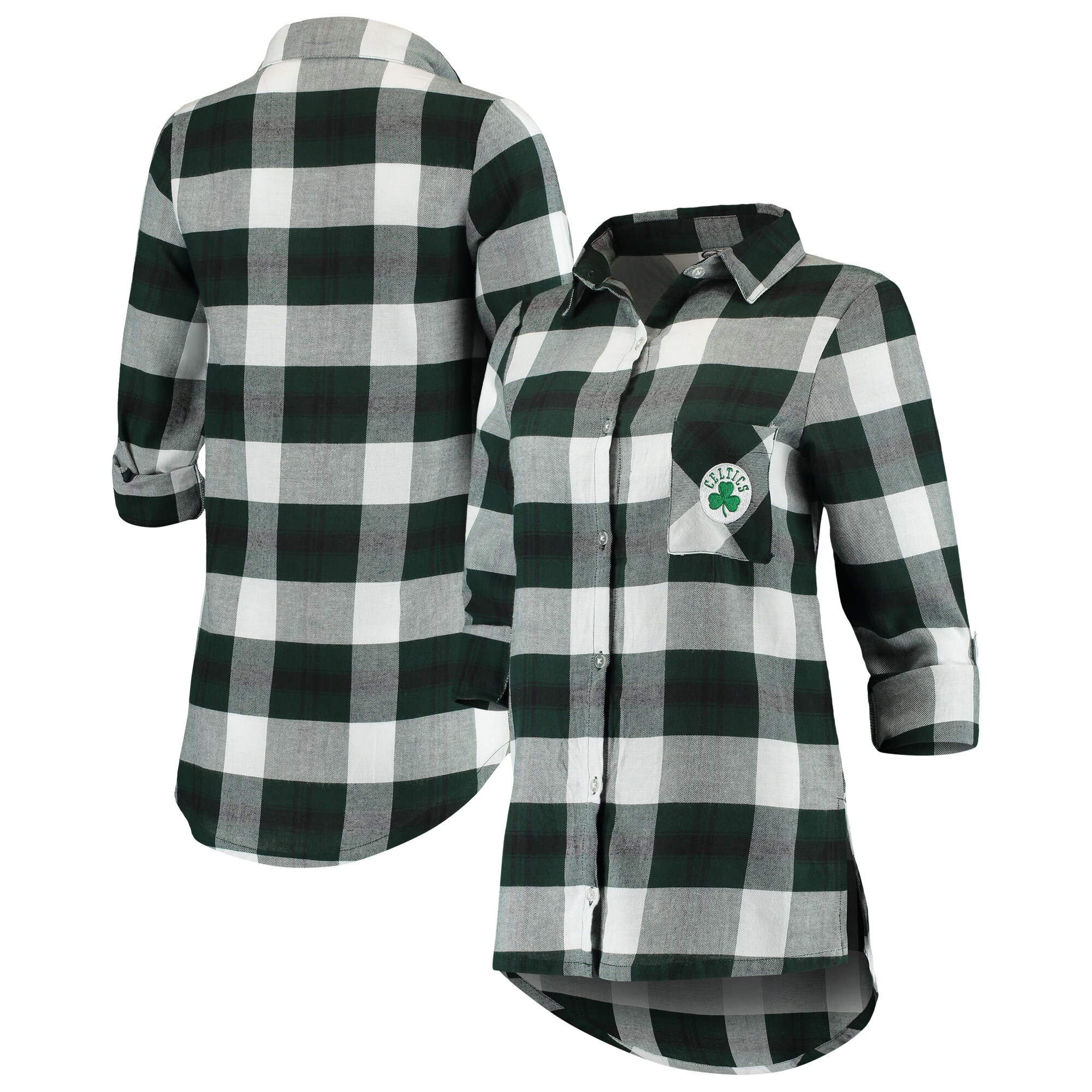 Boston Celtics Concepts Sport Women's Headway Long Sleeve Plaid Tunic - Green/Black