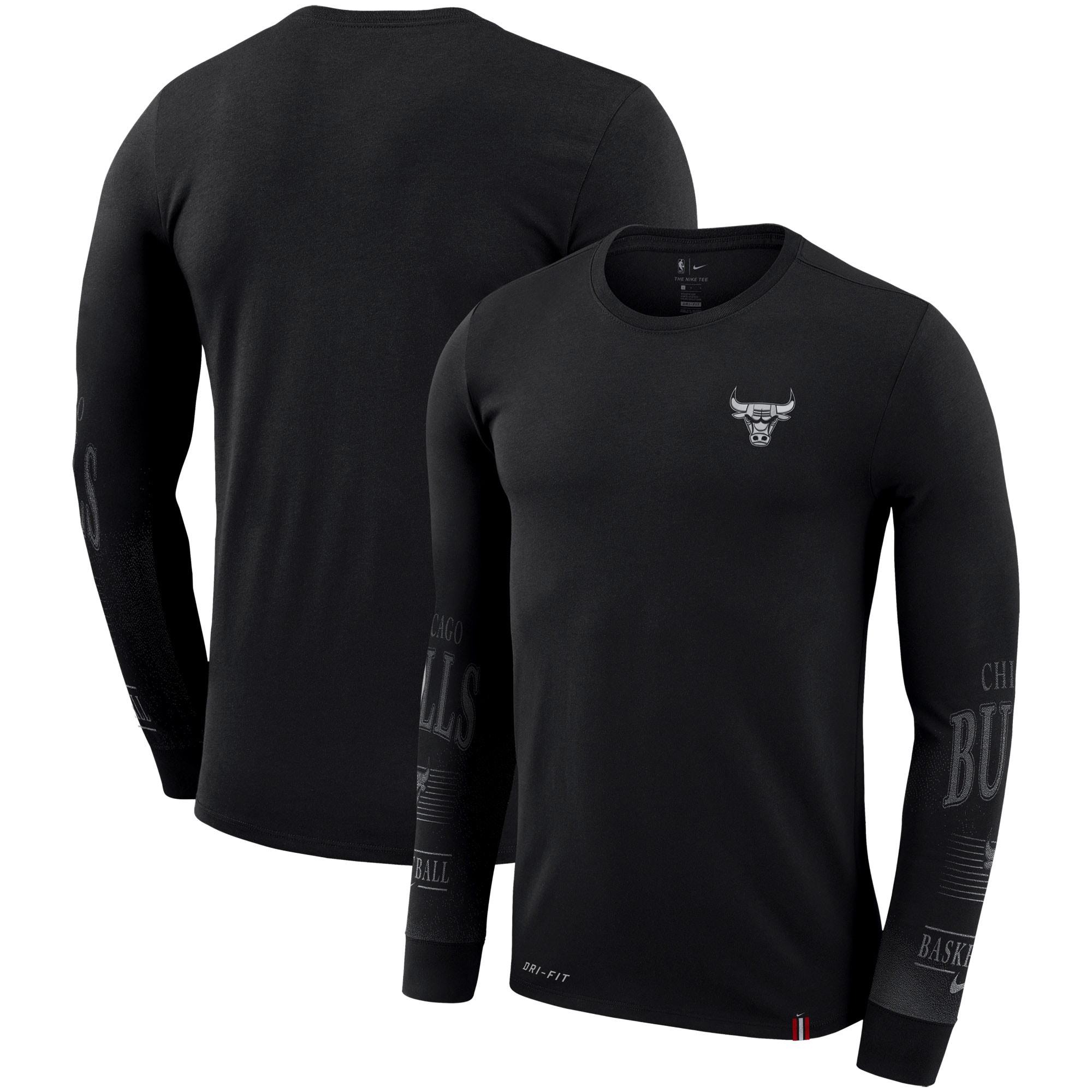 Chicago Bulls Nike Elevated Mezzo Pixel Performance Long Sleeve T-Shirt - Black