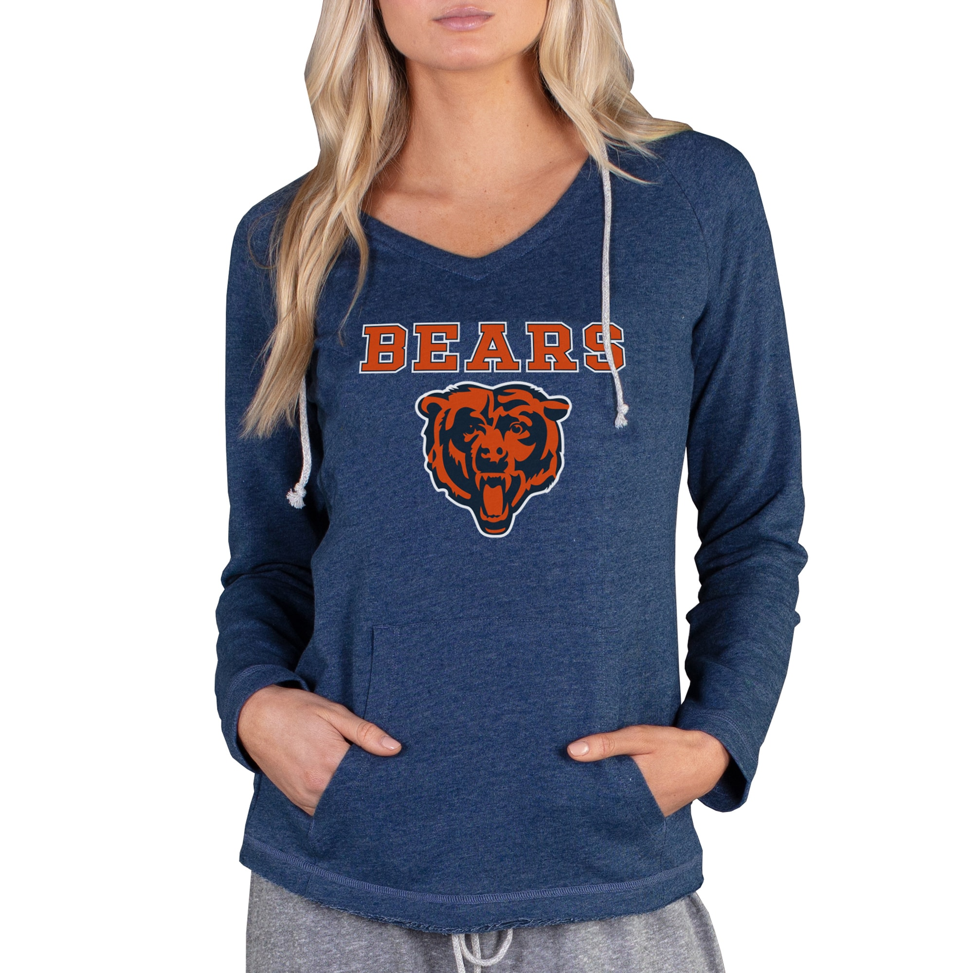Chicago Bears Concepts Sport Women's Mainstream Hooded Long Sleeve V-Neck Top - Navy