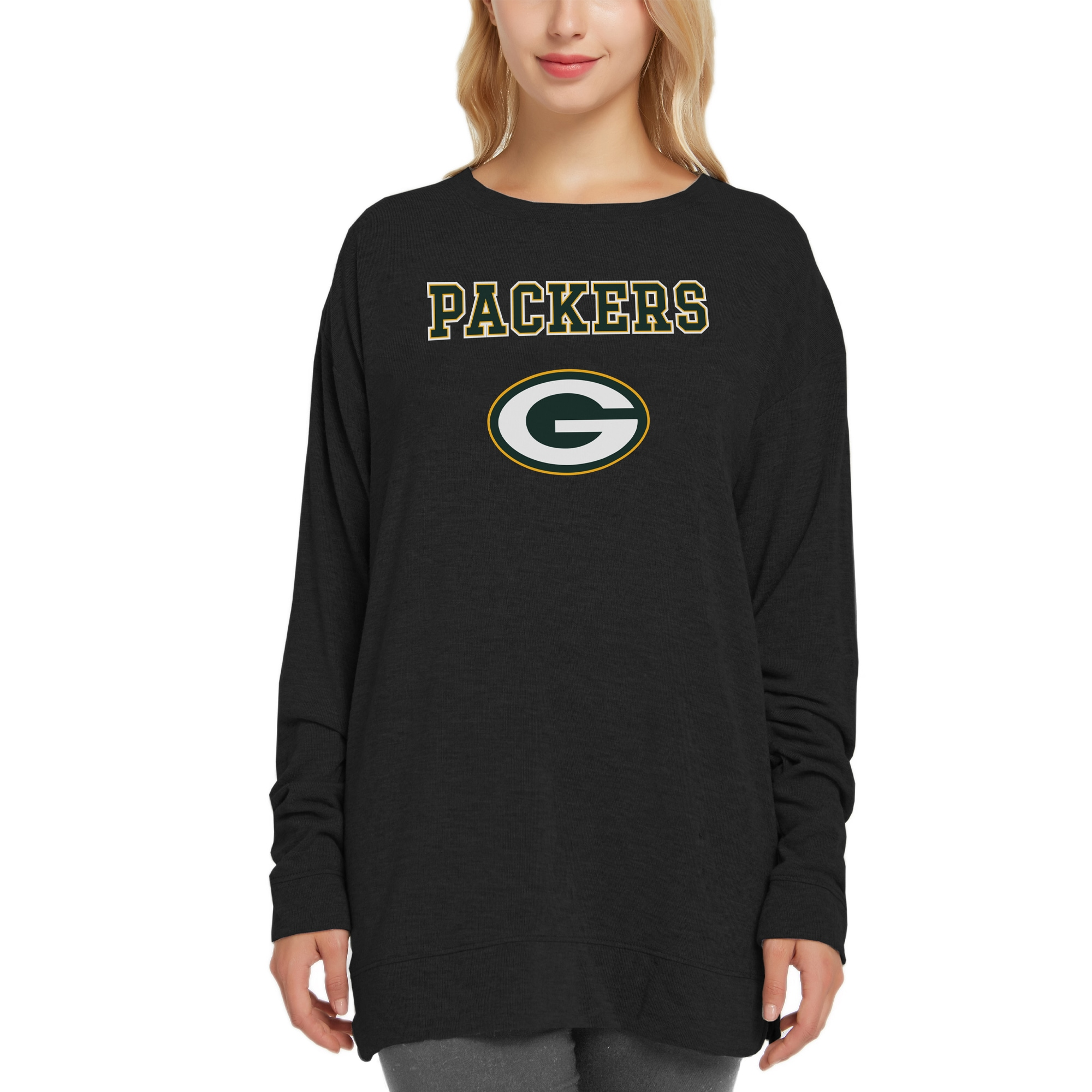 Green Bay Packers Concepts Sport Women's New Rapture Long Sleeve Top - Black