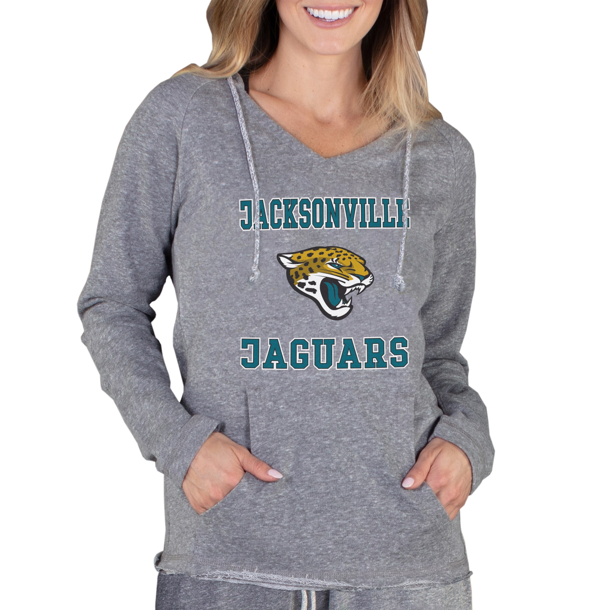 Jacksonville Jaguars Concepts Sport Women's Mainstream Hooded Long Sleeve V-Neck Top - Gray
