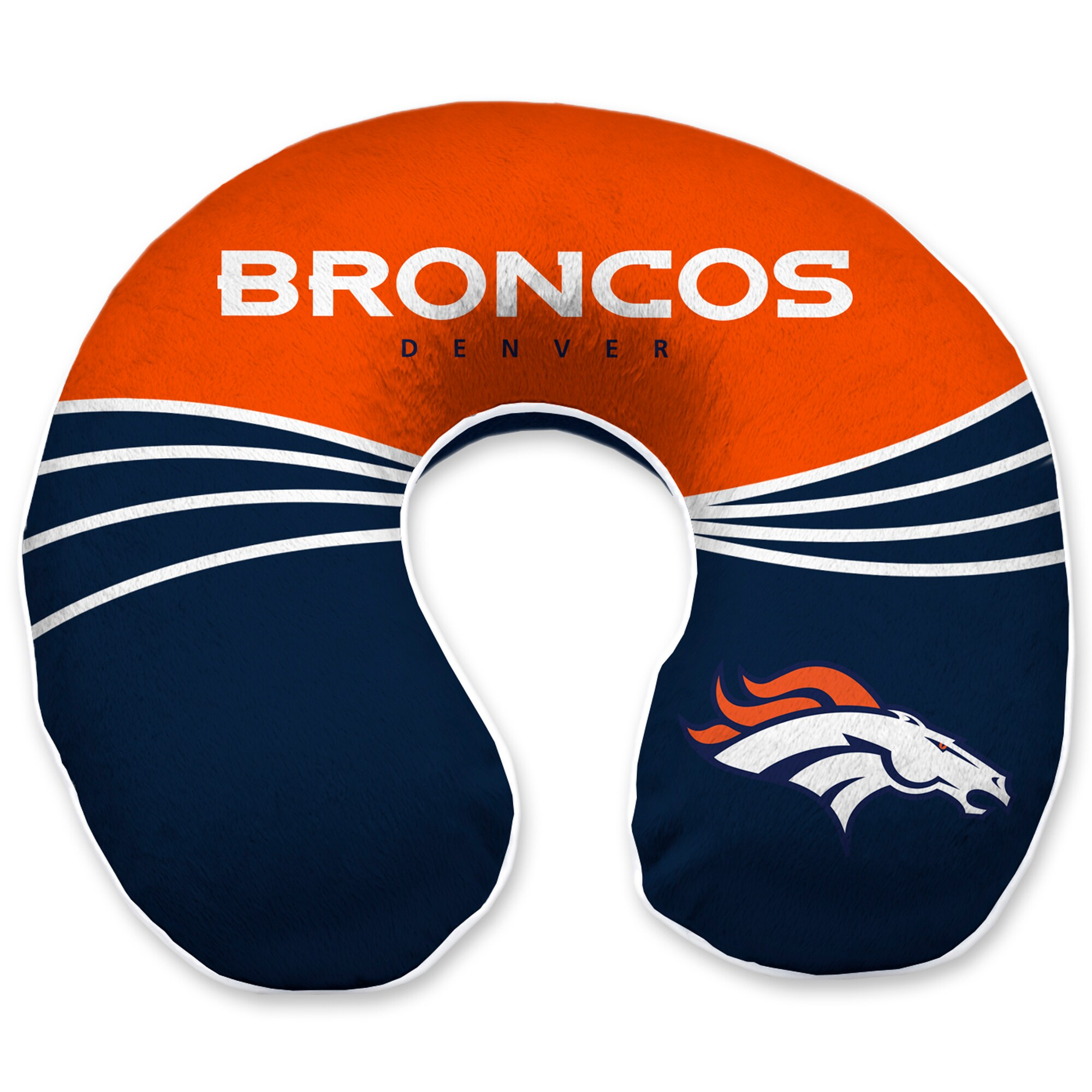 Denver Broncos Wave Memory Foam U-Neck Travel Pillow - Blue