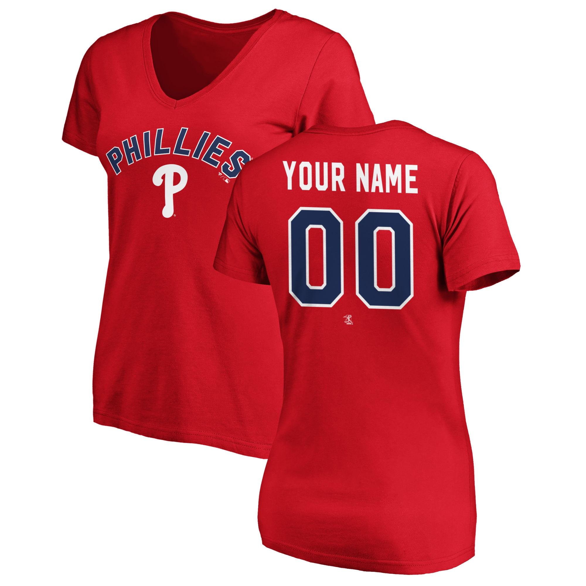 Philadelphia Phillies Fanatics Branded Women's Personalized Winning Streak Name & Number Slim Fit V-Neck T-Shirt - Red