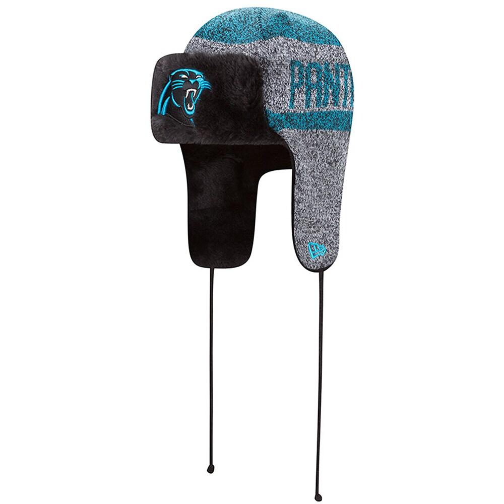 Carolina Panthers New Era Frostwork Trapper Knit Hat - Heathered Gray