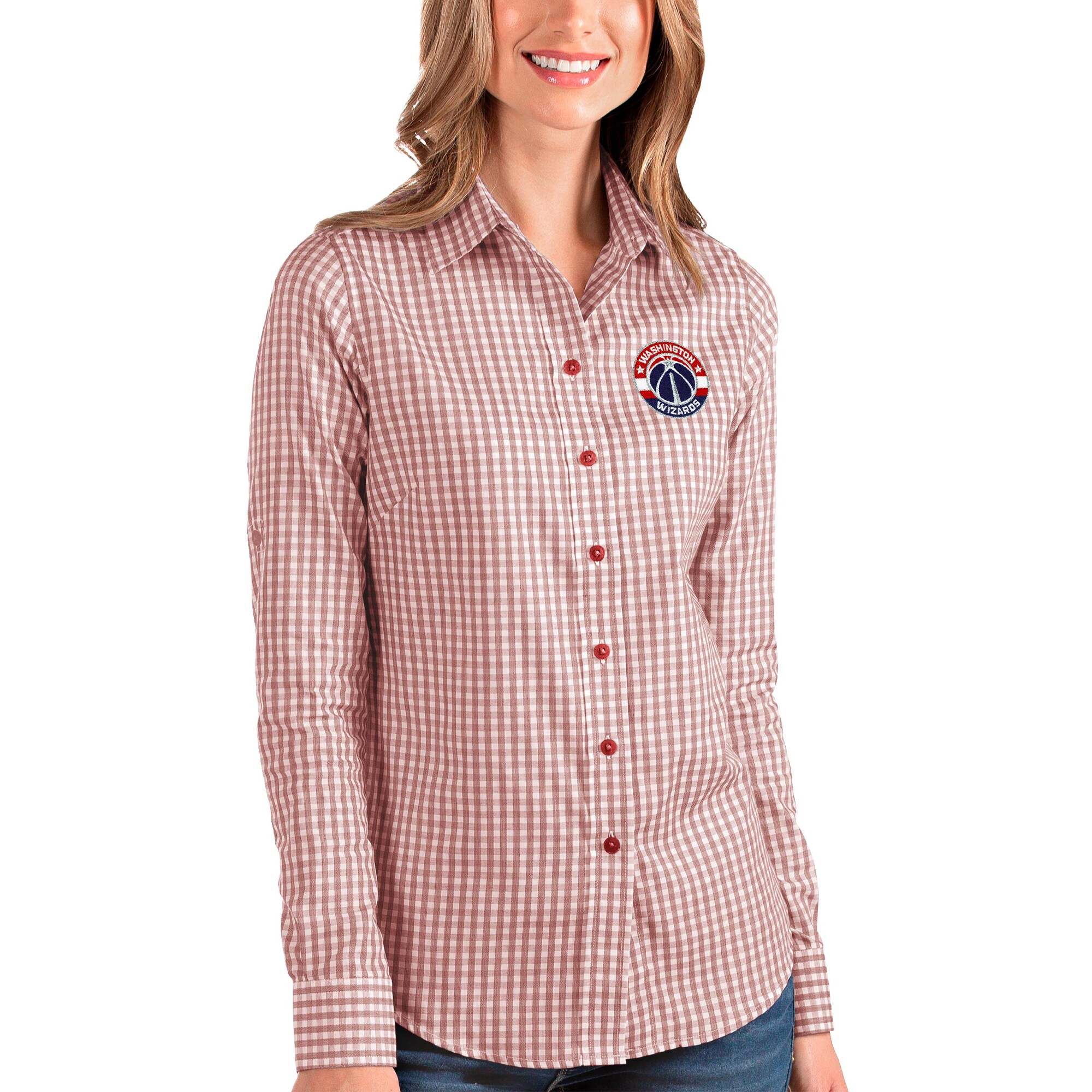 Washington Wizards Antigua Women's Structure Button-Up Long Sleeve Shirt - Red/White