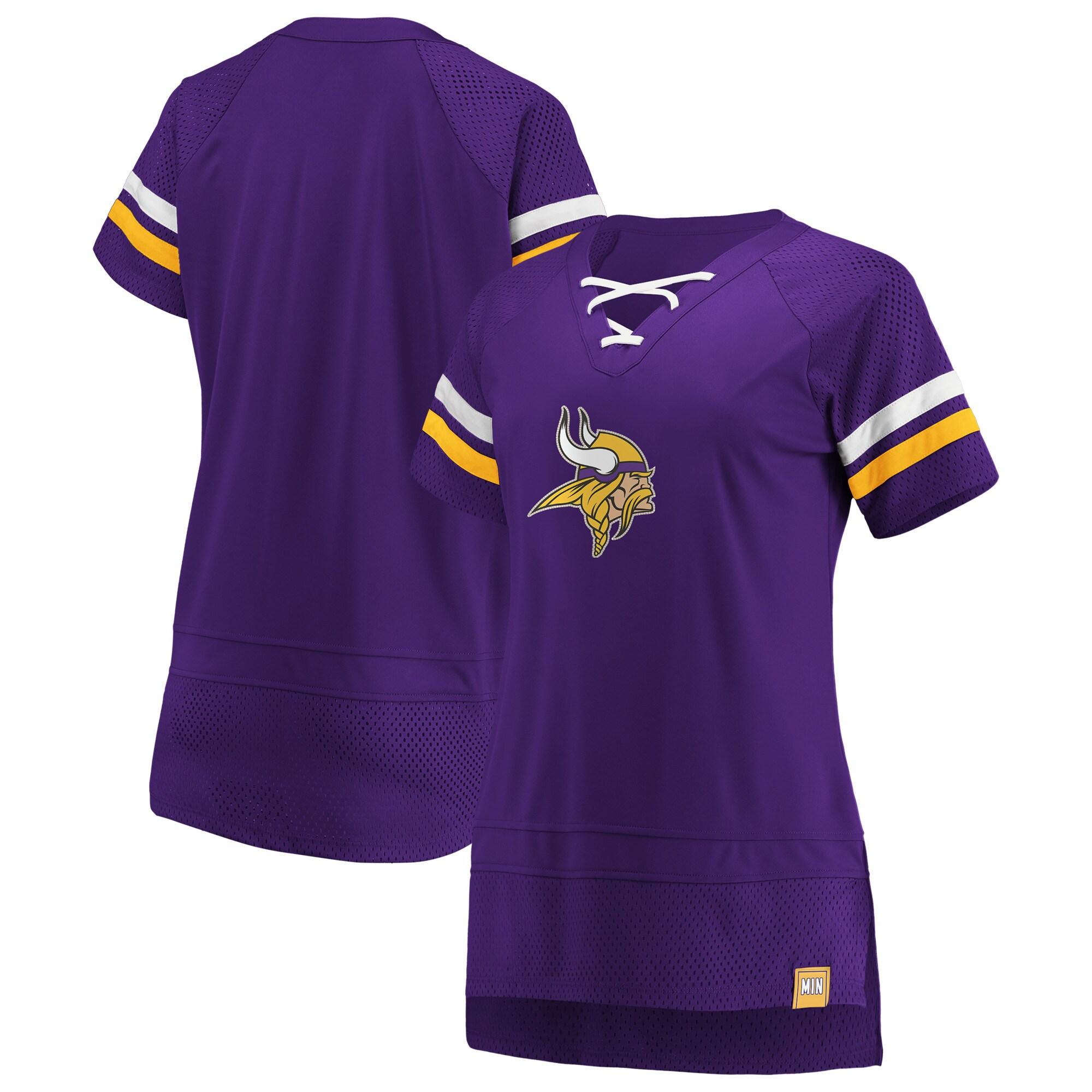 Minnesota Vikings Fanatics Branded Women's Draft Me Lace Up T-Shirt - Purple/Gold