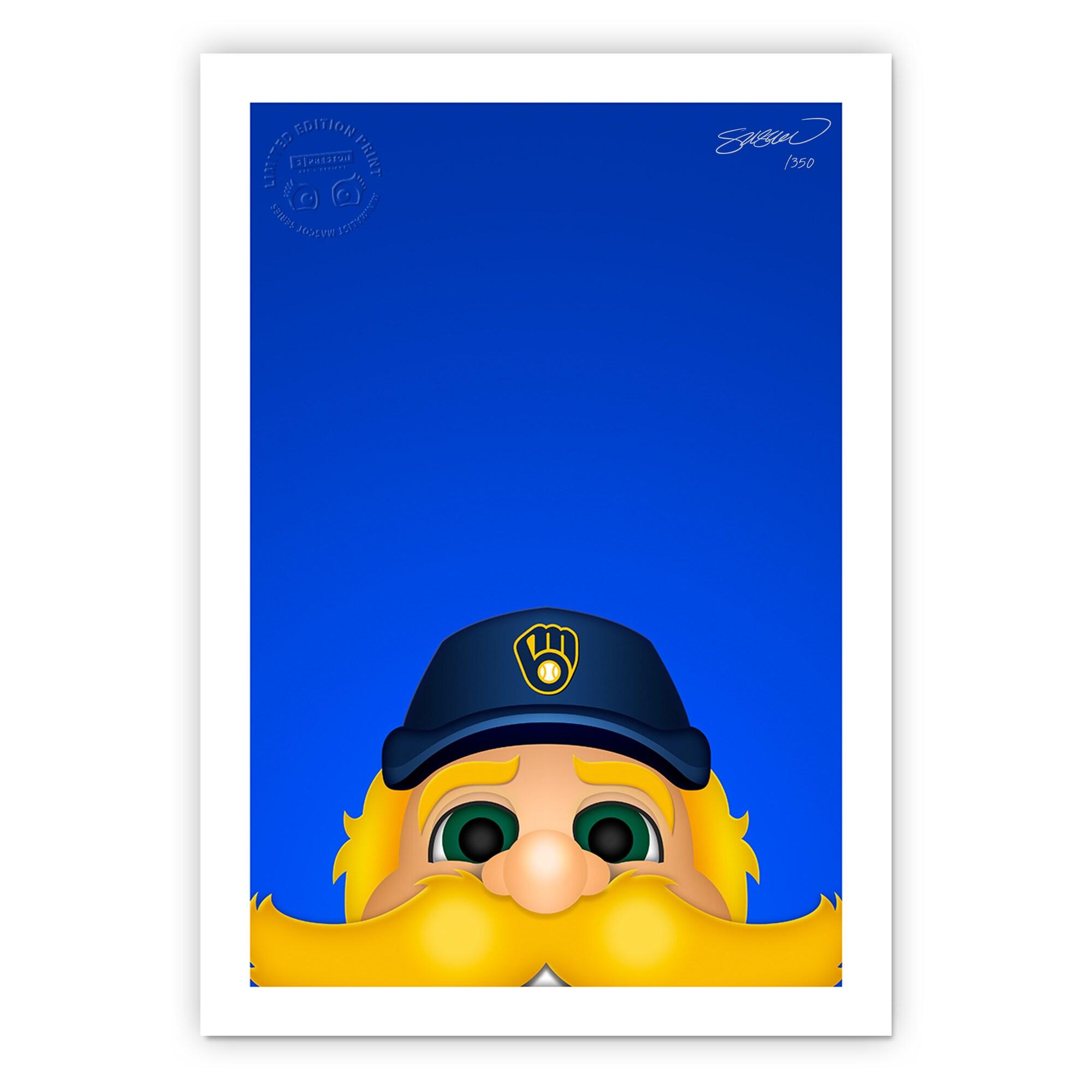 """Milwaukee Brewers 14"""" x 20"""" Minimalist Bernie Brewer Mascot Wall Art"""
