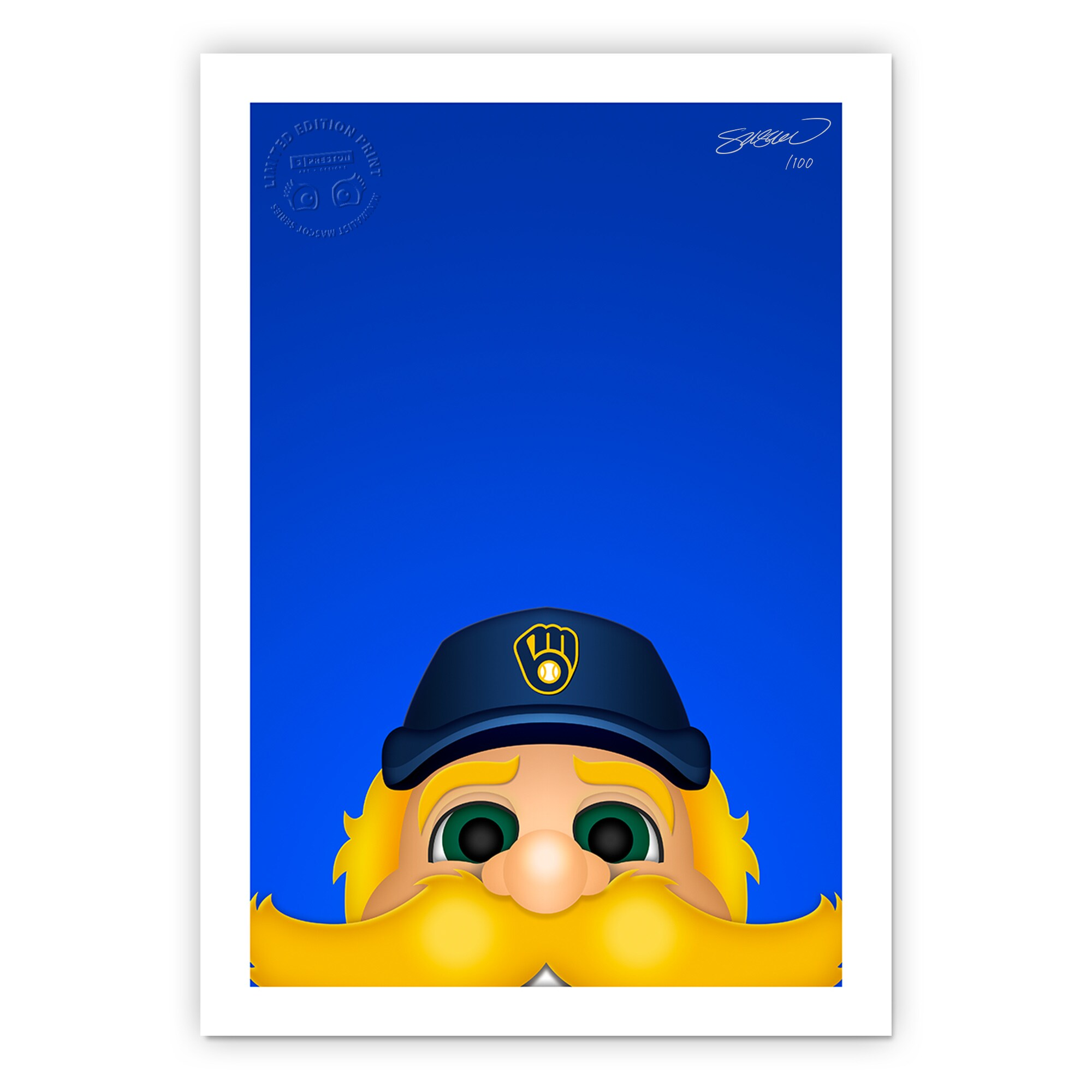 "Milwaukee Brewers 24"" x 32"" Minimalist Milwaukee Brewers Mascot Wall Art"