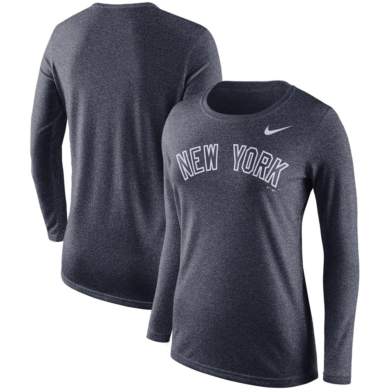 New York Yankees Nike Women's Marled Long Sleeve T-Shirt - Navy