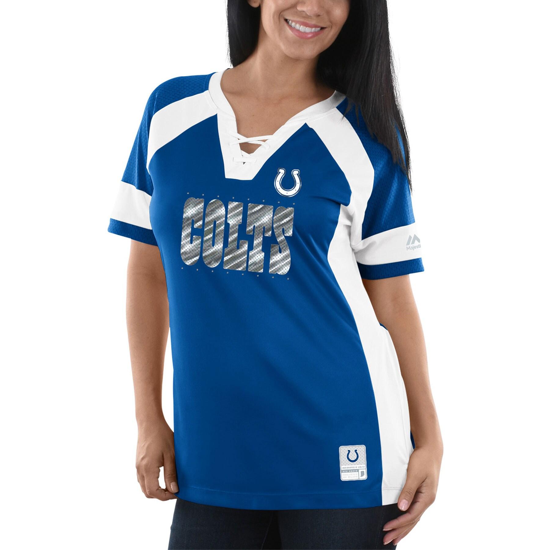 Indianapolis Colts Majestic Women's Draft Me V-Neck T-Shirt - Royal/White
